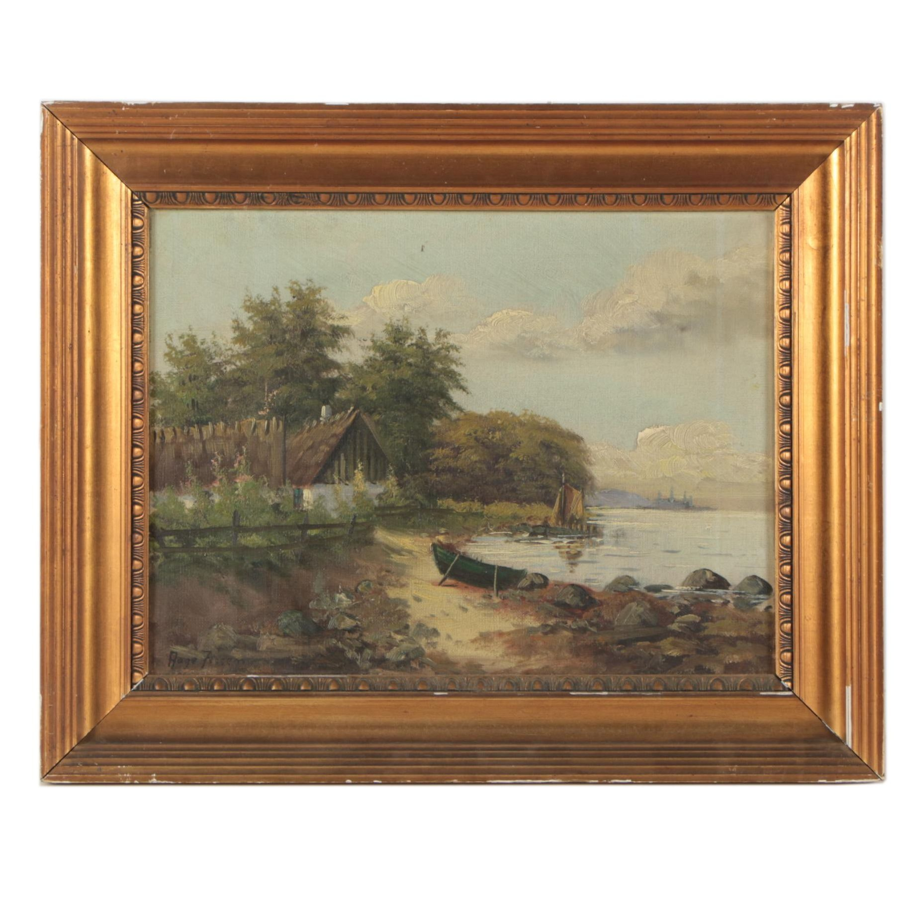 Aage Jessen (1876-1961) Oil Painting of Shore Scene