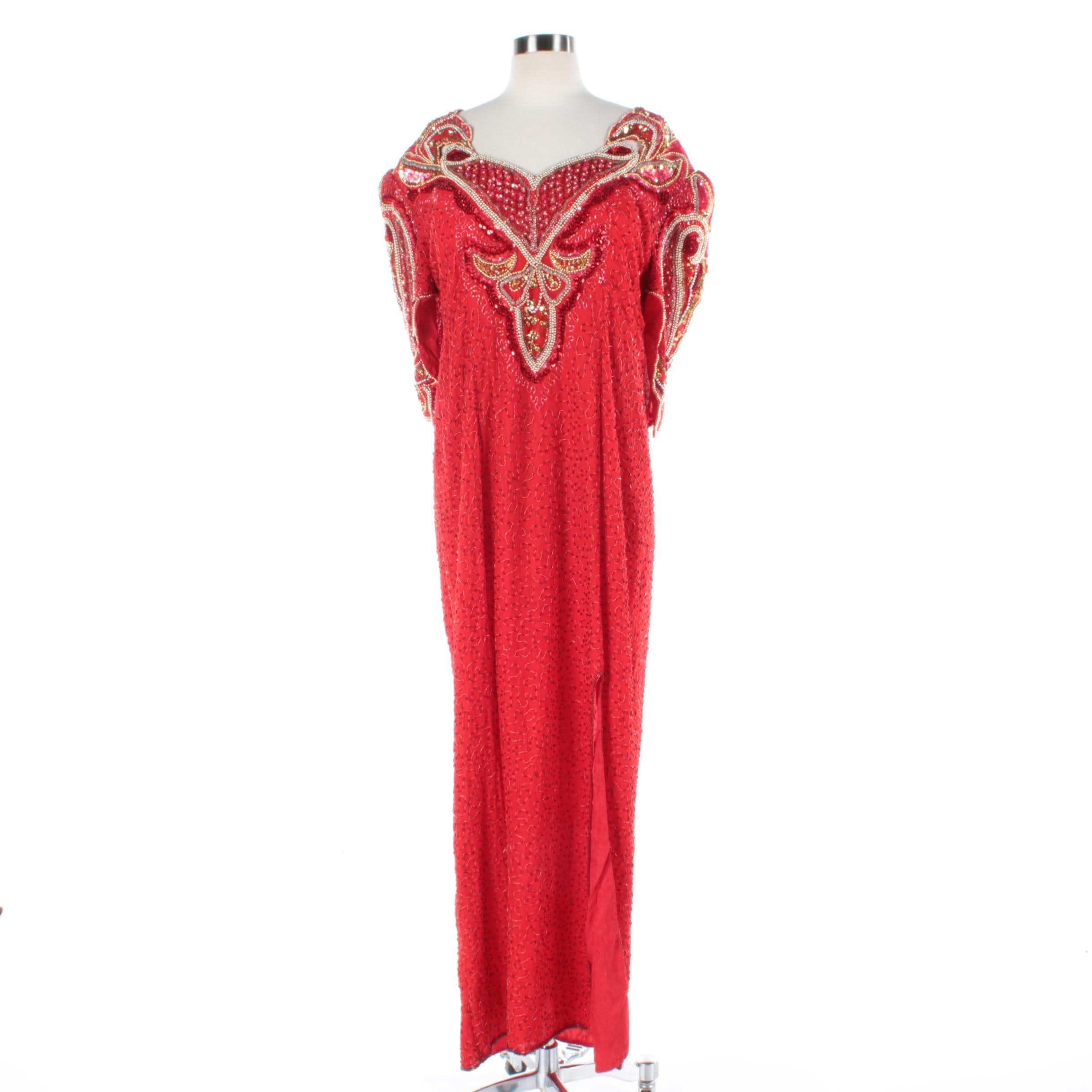 Women's Hi Fashions of California Beaded and Sequined Red Silk Evening Gown