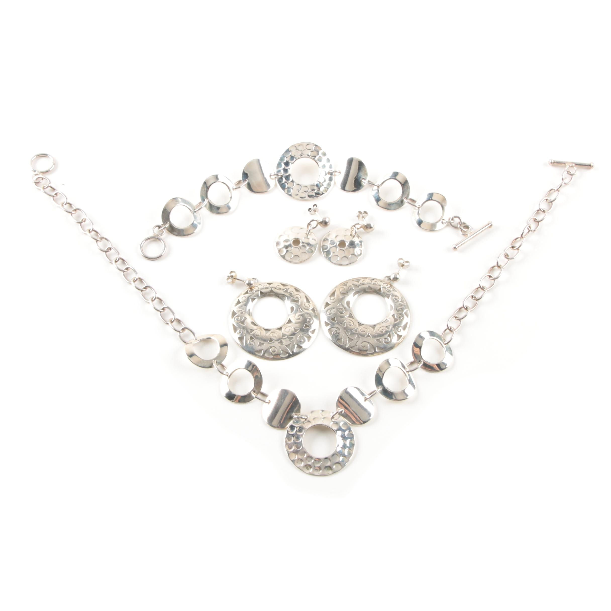 Sterling Silver Earrings, Bracelet and Necklace Includes 14K White Gold Findings