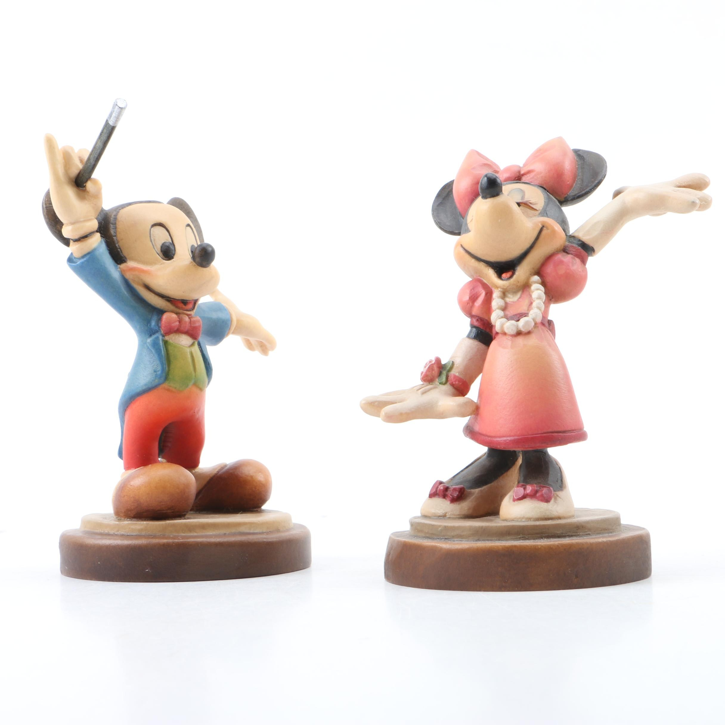 Mickey Mouse and Minnie Mouse Limited Edition ANRI Woodcarvings