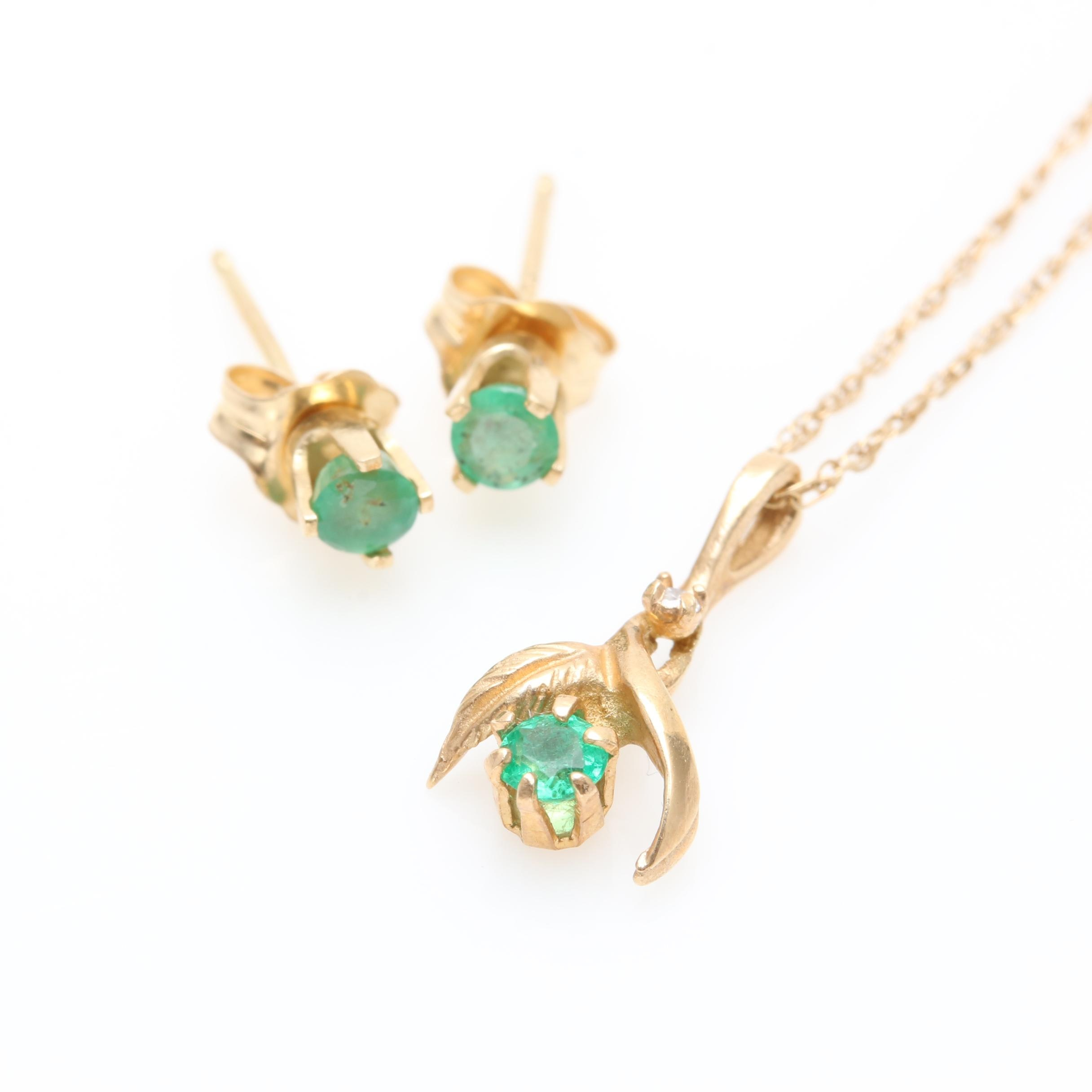 14K Yellow Gold Emerald and Diamond Necklace and Earrings