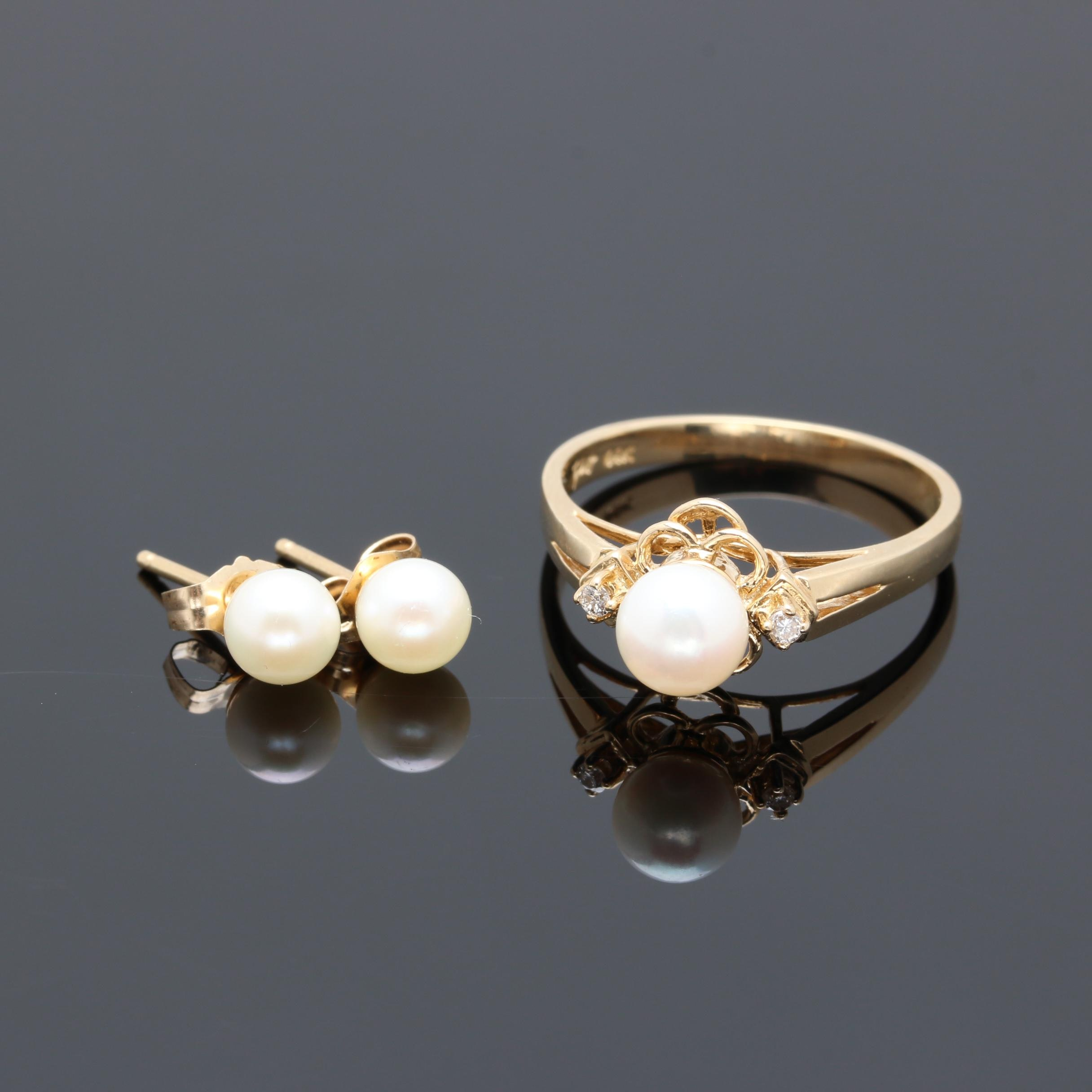 14K Yellow Gold Cultured Pearl and Diamond Ring and Earrings
