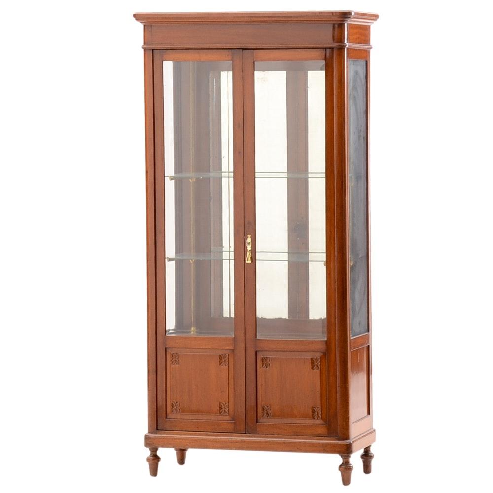 Antique Cherry Wood Curio Cabinet