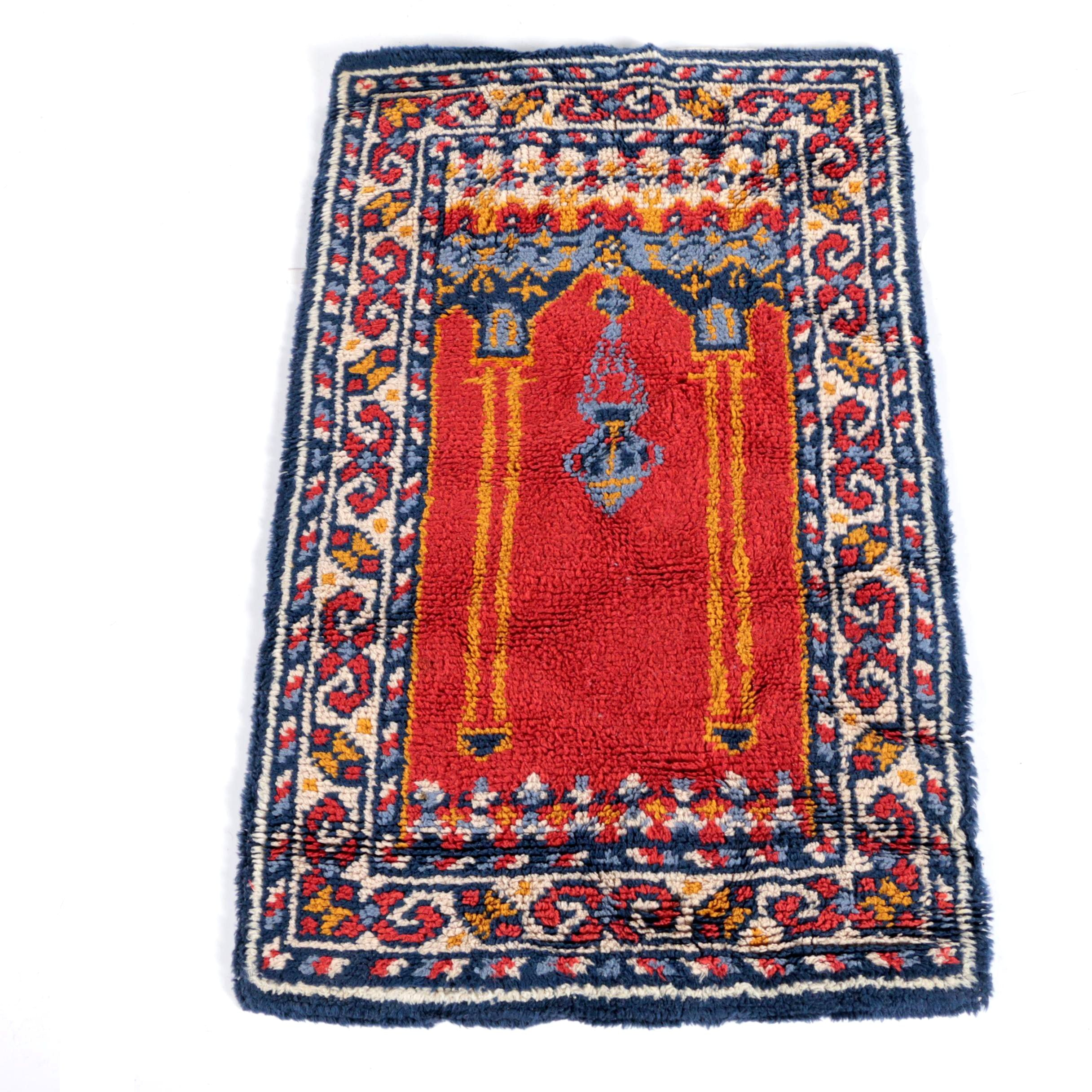 Power-Loomed Turkish-Style Wool Prayer Rug