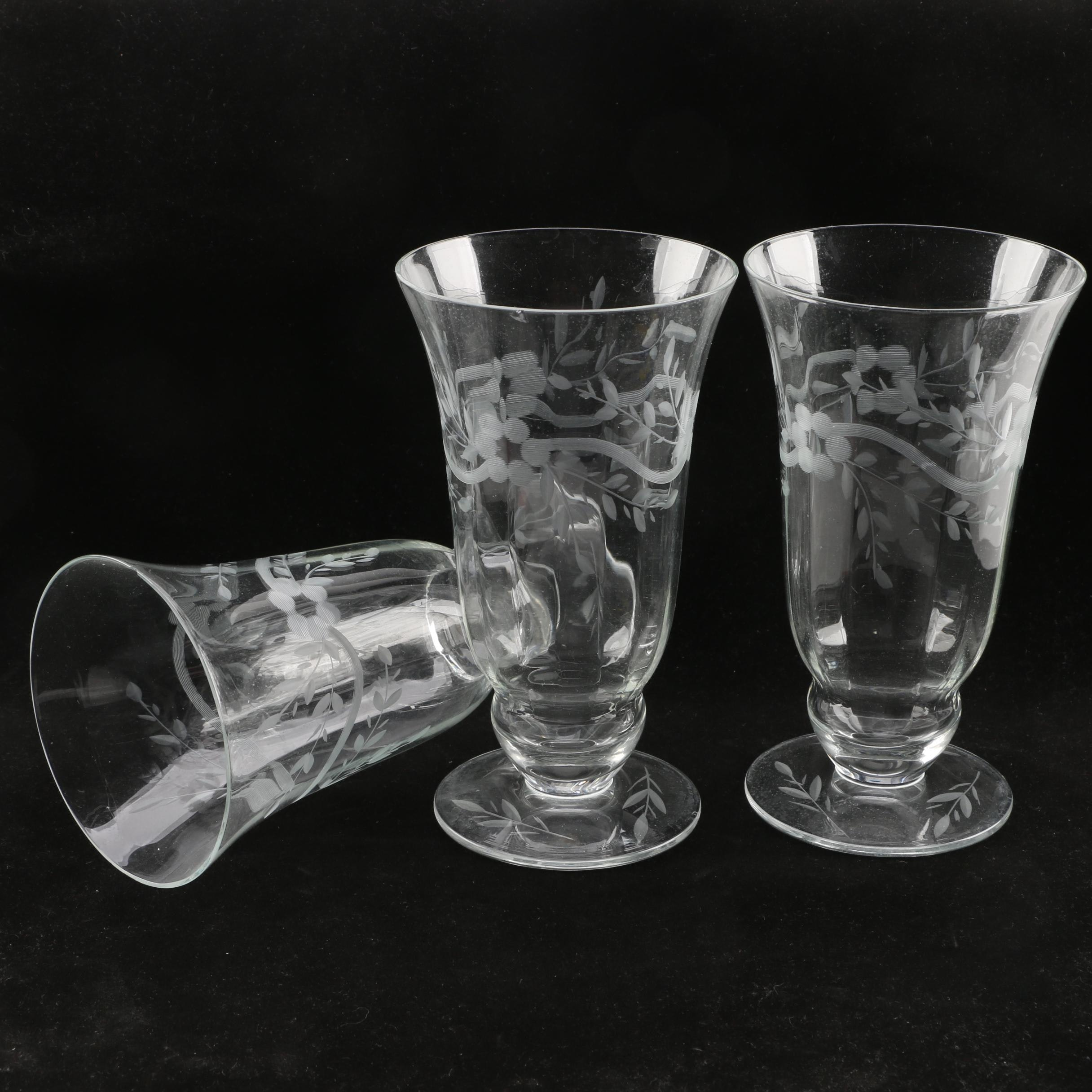 Collection of Three Etched Parfait Glasses