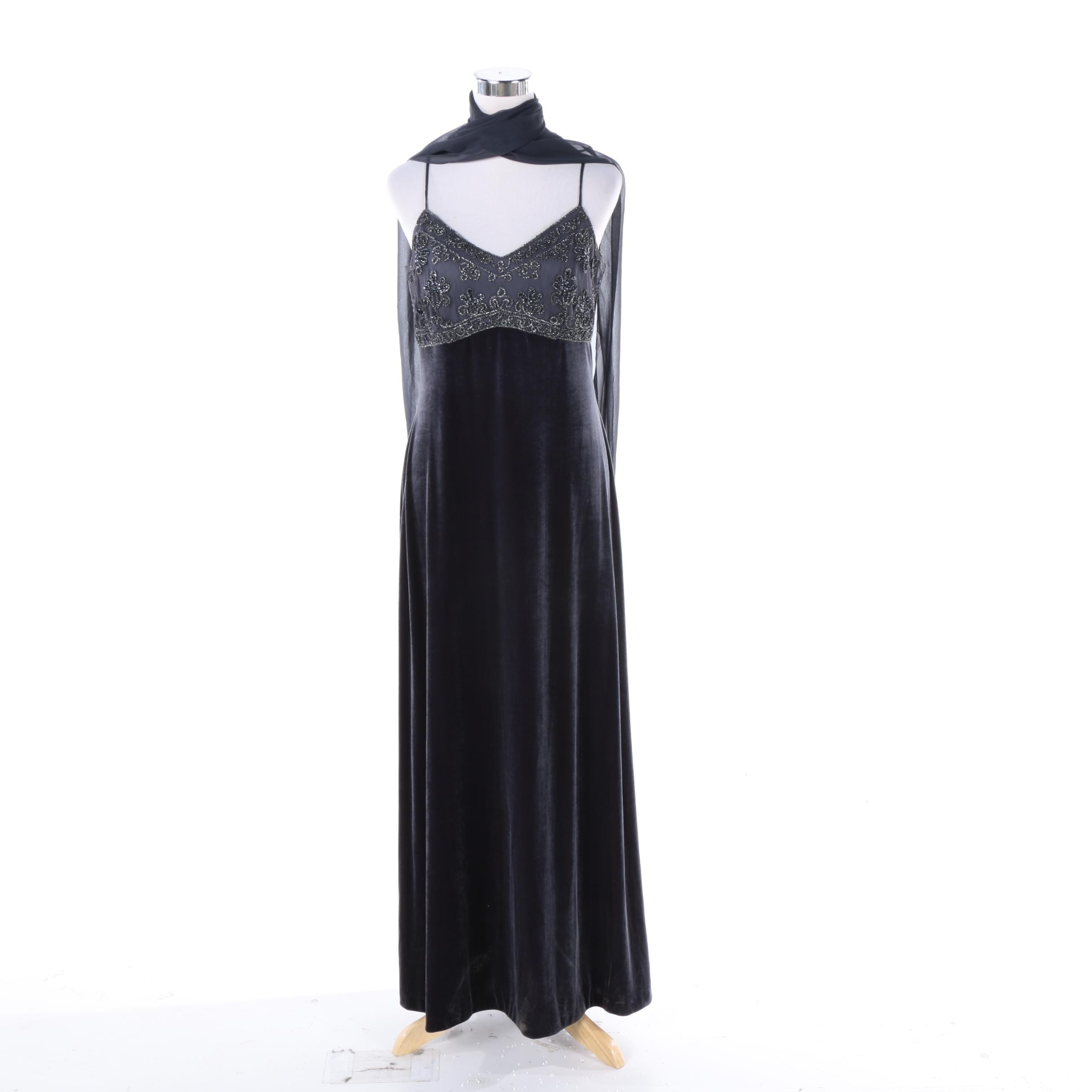Women's Rhapsody Ltd. Beaded Velvet Evening Gown with Matching Scarf