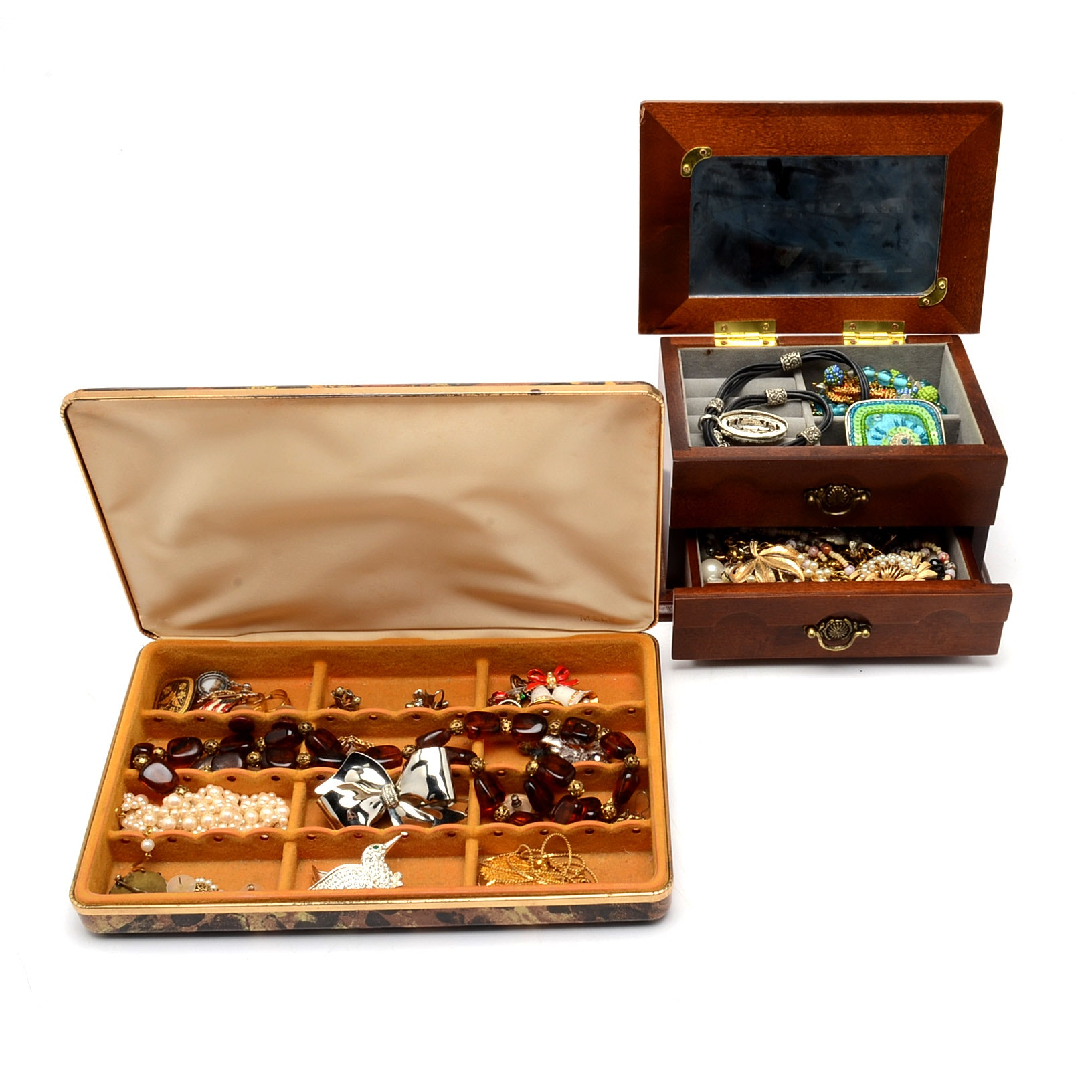 Assorted Costume Jewelry with Jewelry Boxes