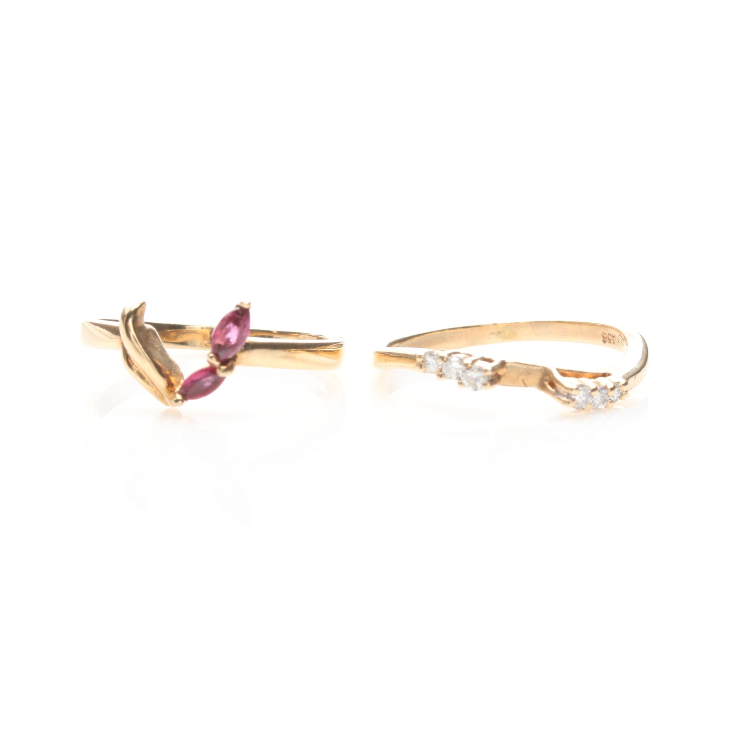10K Yellow Gold Ruby and Diamond Ring Jacket Selection