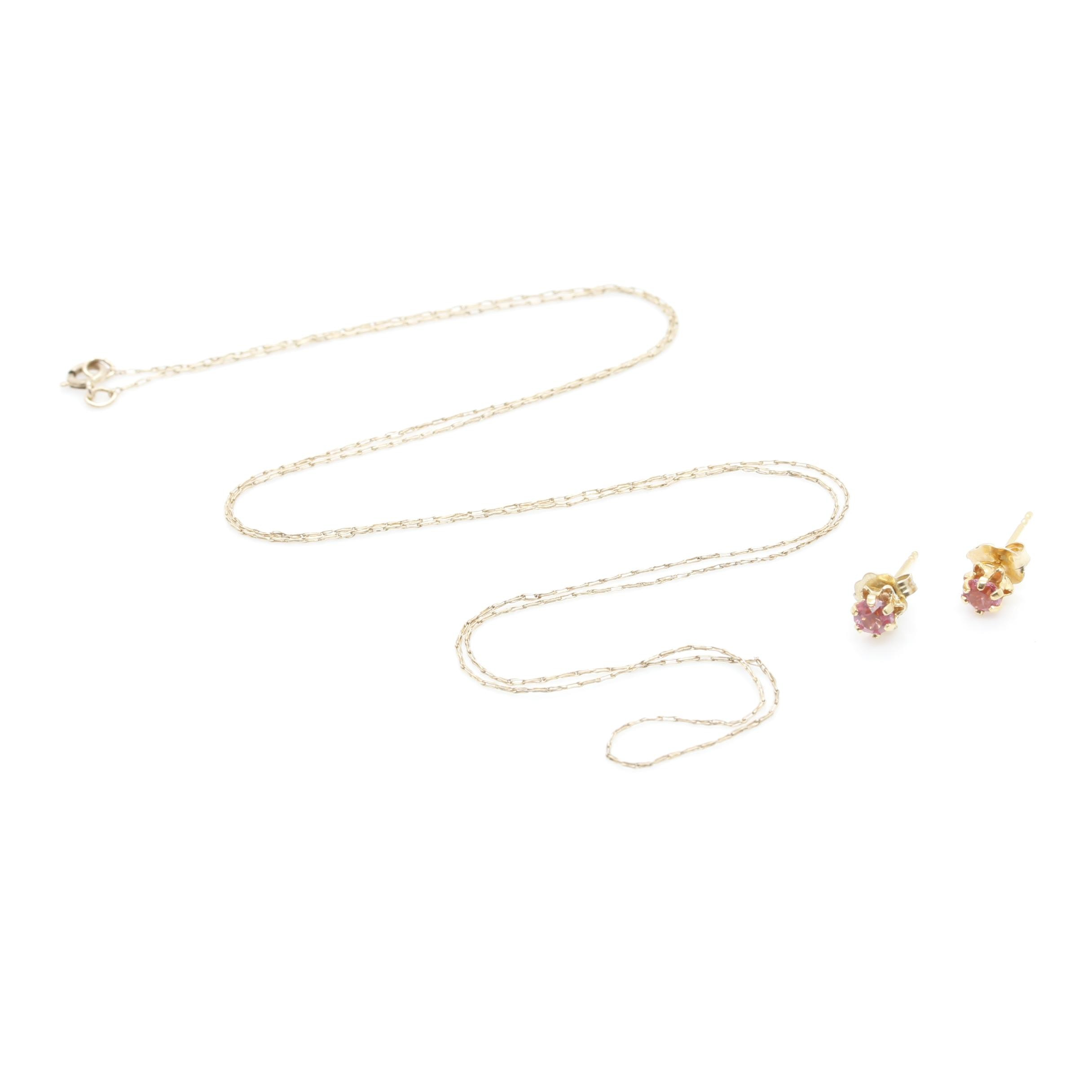10K Yellow Gold Chain and Pink Glass Stud Earrings