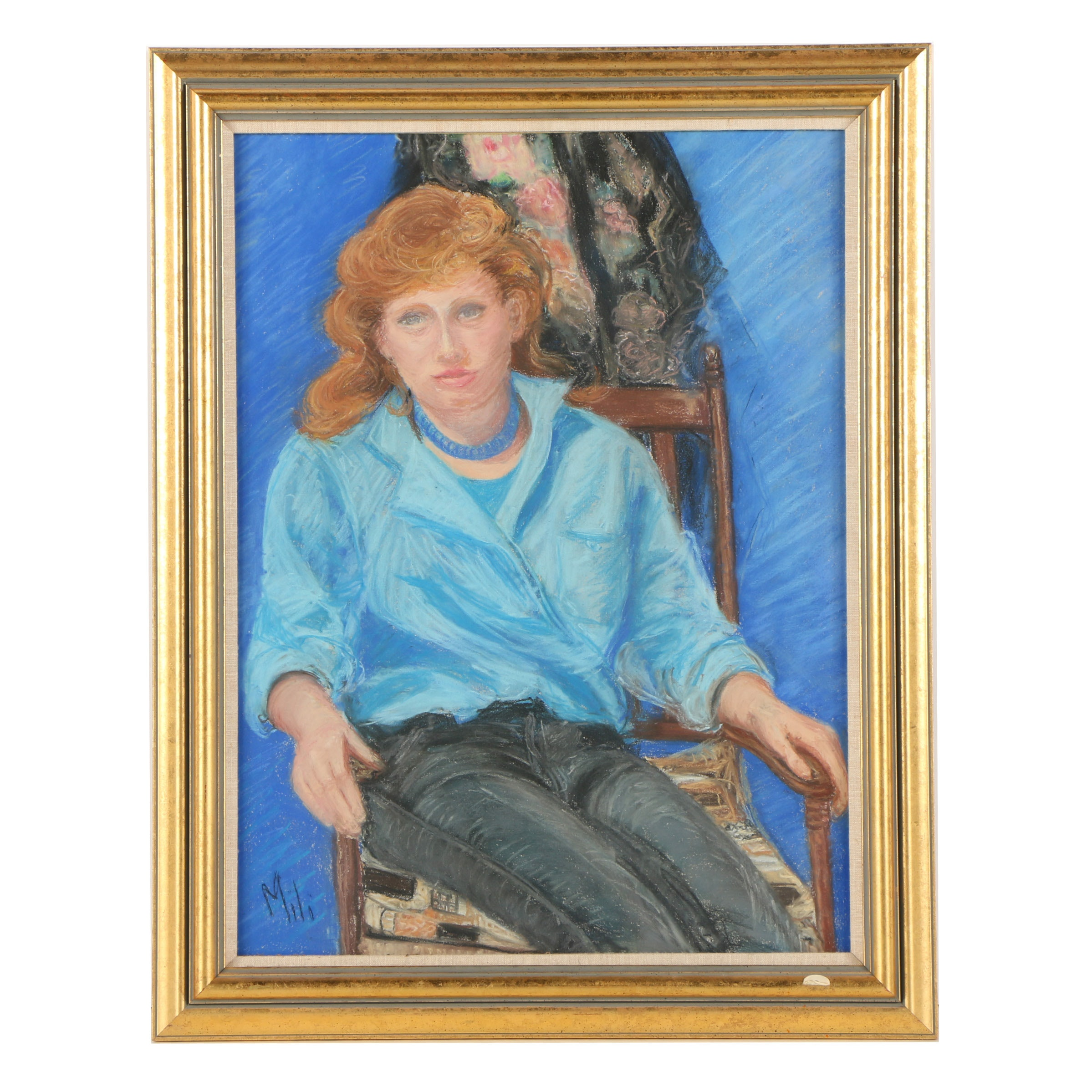 "Maud Millicent Clapp Pastel Drawing ""Girl in Blue"""