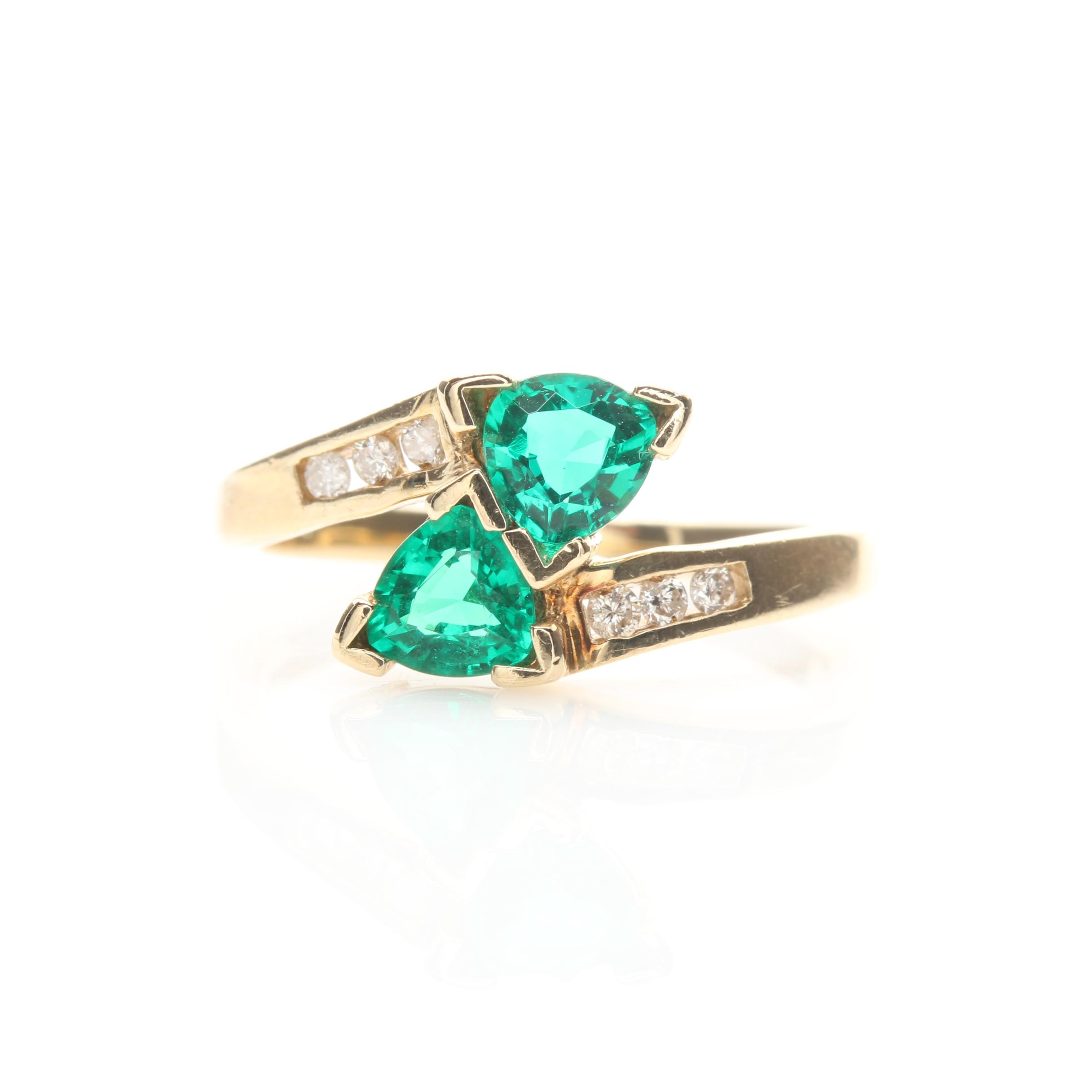10K Yellow Gold Synthetic Emerald and Diamond Bypass Ring