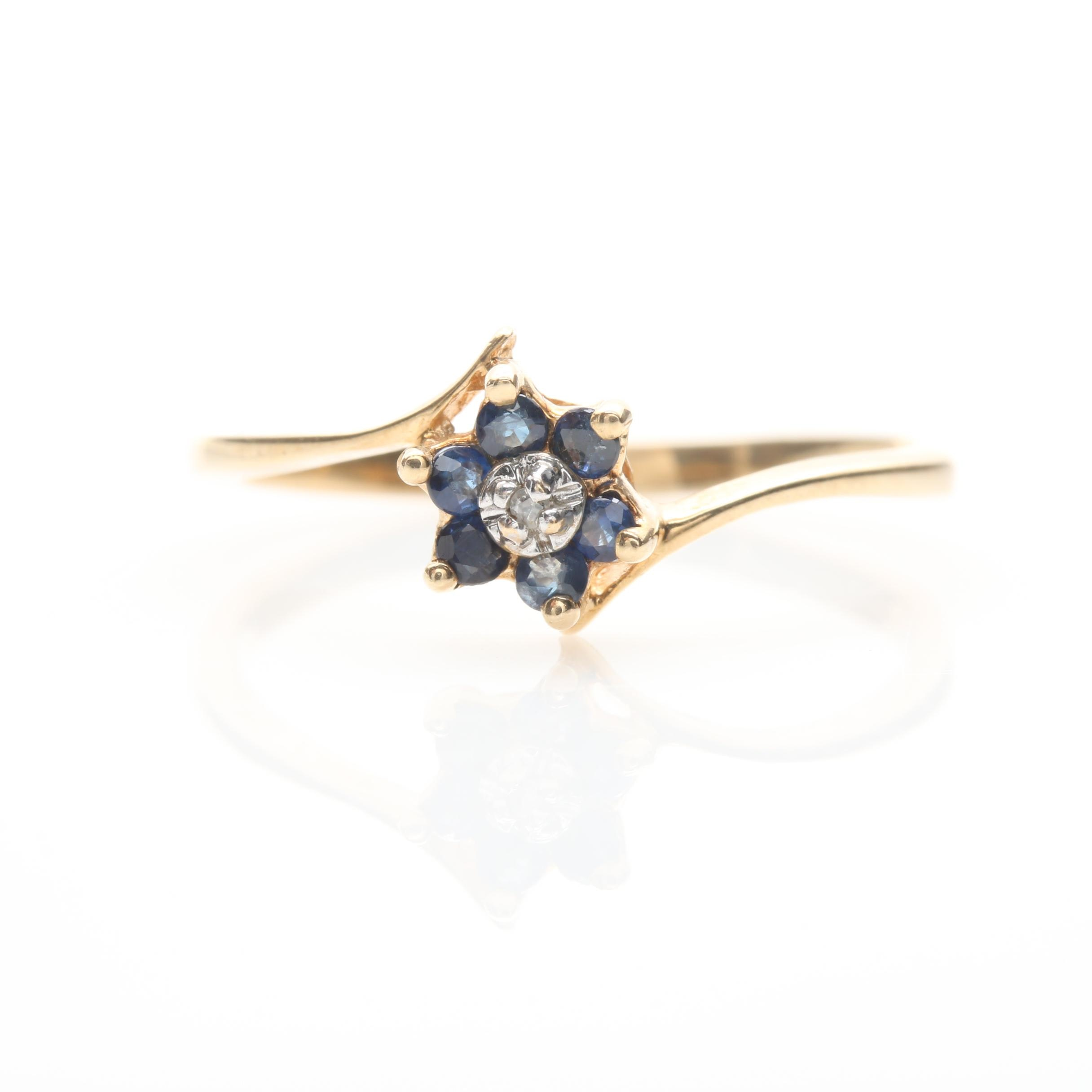 10K Yellow Gold Diamond and Sapphire Ring