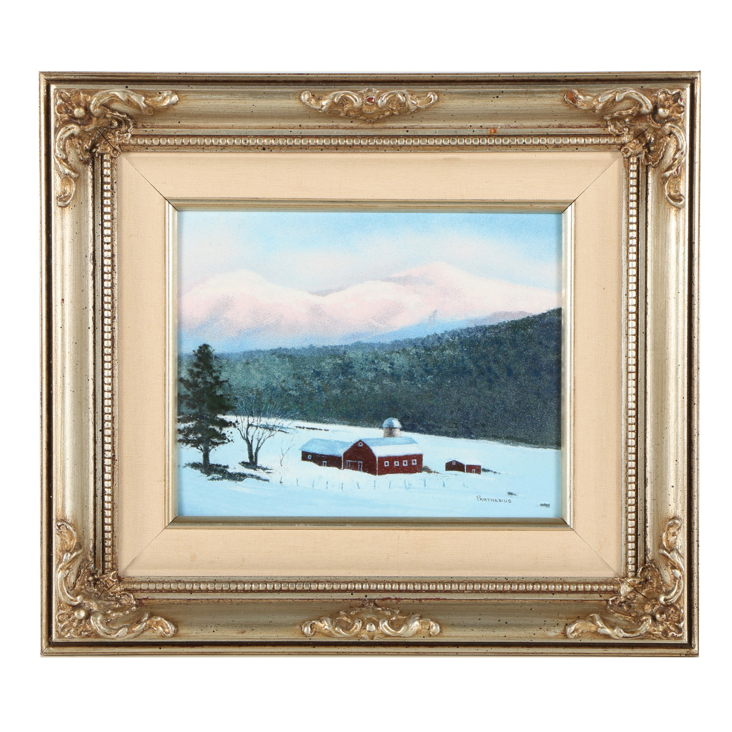 Charles Parthesius Enamel Painting on Copper of Winter Landscape