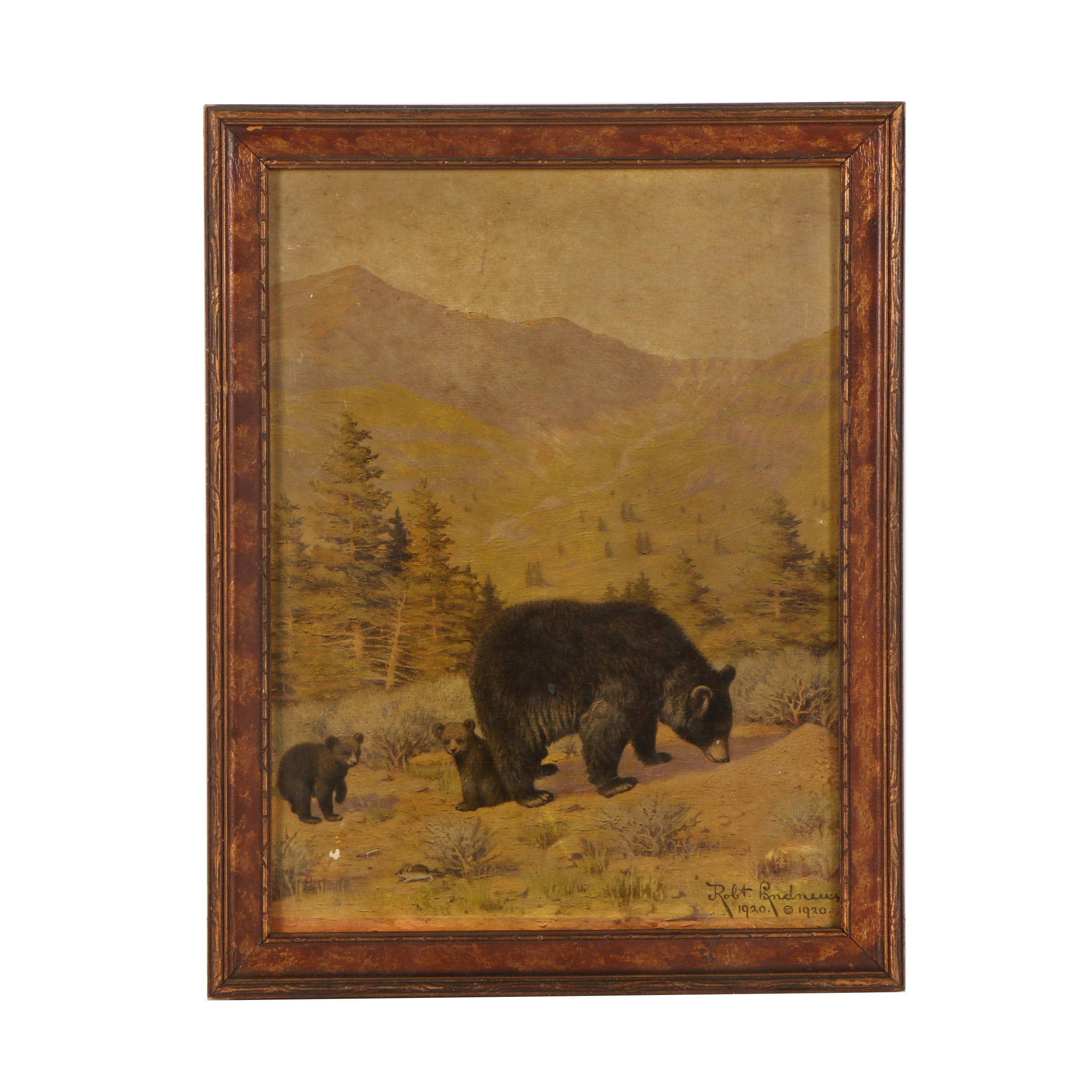 Vintage Offset Lithograph of Bears