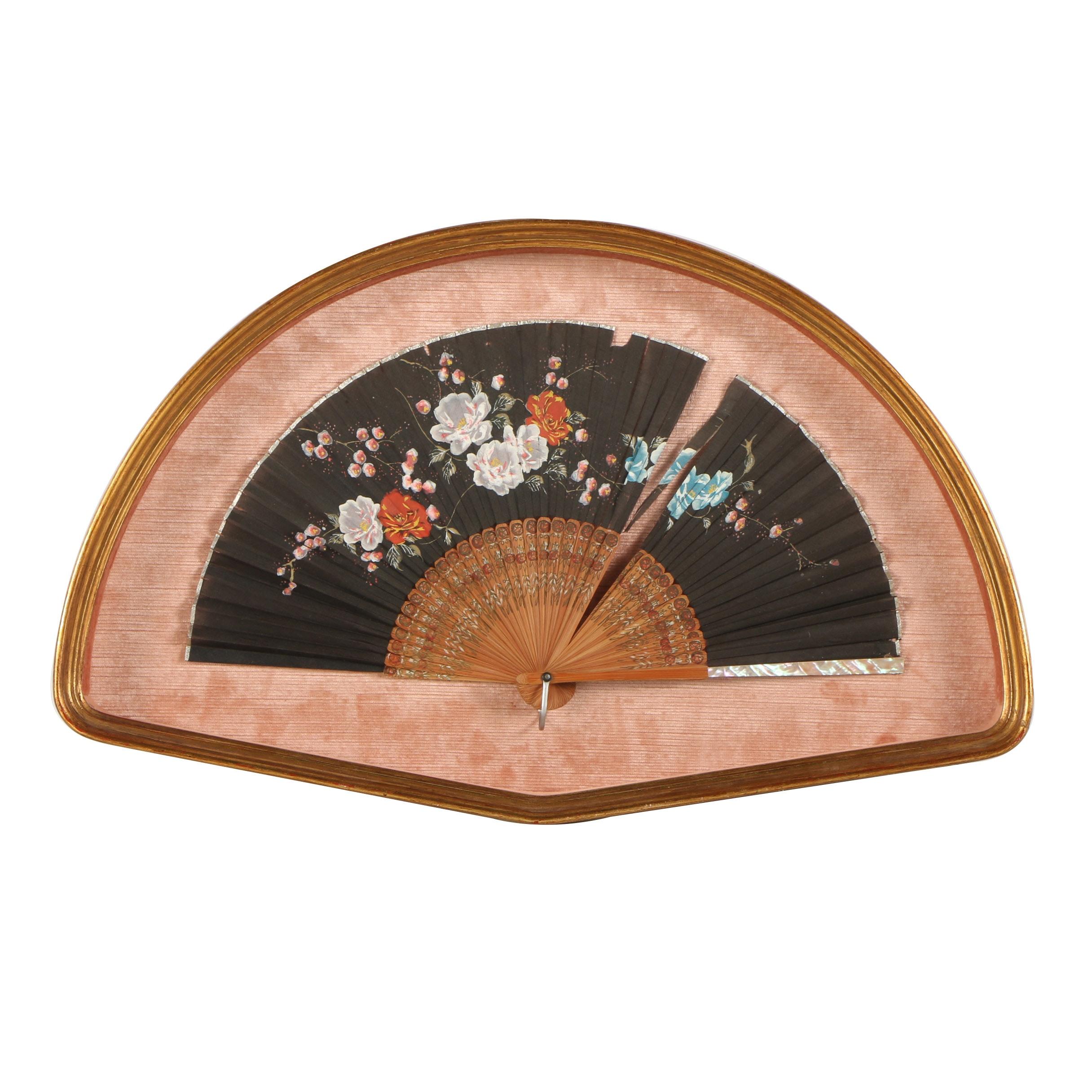 Framed Antique East Asian Style Paper Fan