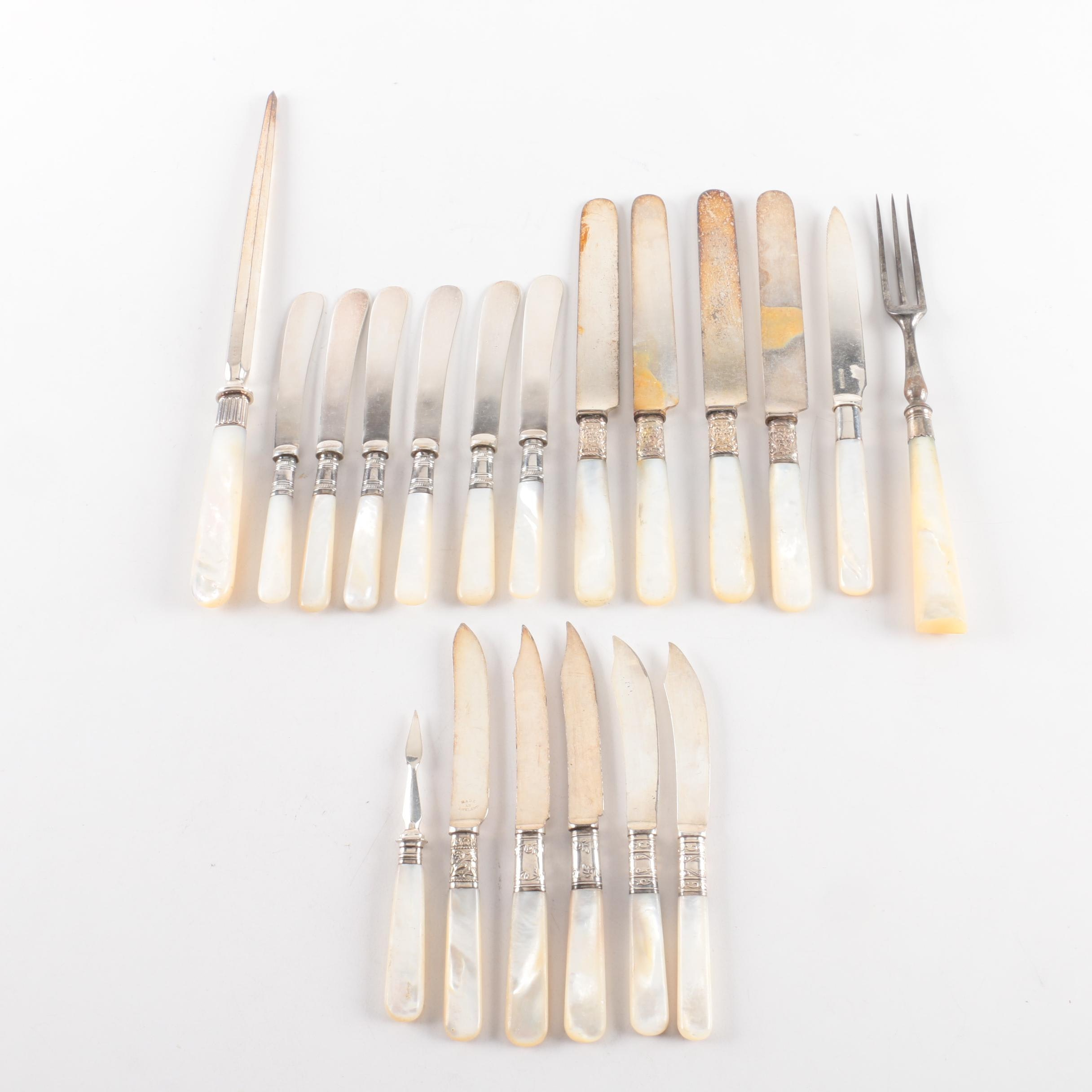 Mother of Pearl Handled Flatware Featuring Sterling and Silver Plate Collars