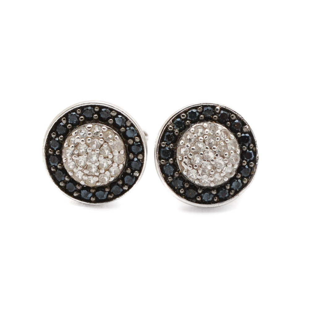 Sterling and Pavé Stud Earrings with Black Onyx and White Topaz