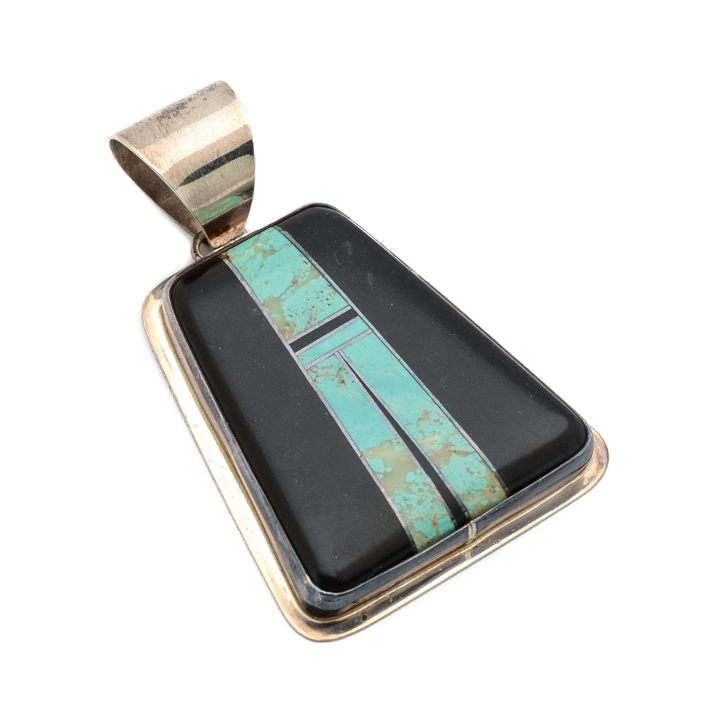 Ellouise Padilla Kiwa Turquoise and Onyx Inlaid Pendant for Sunrise Jewelers