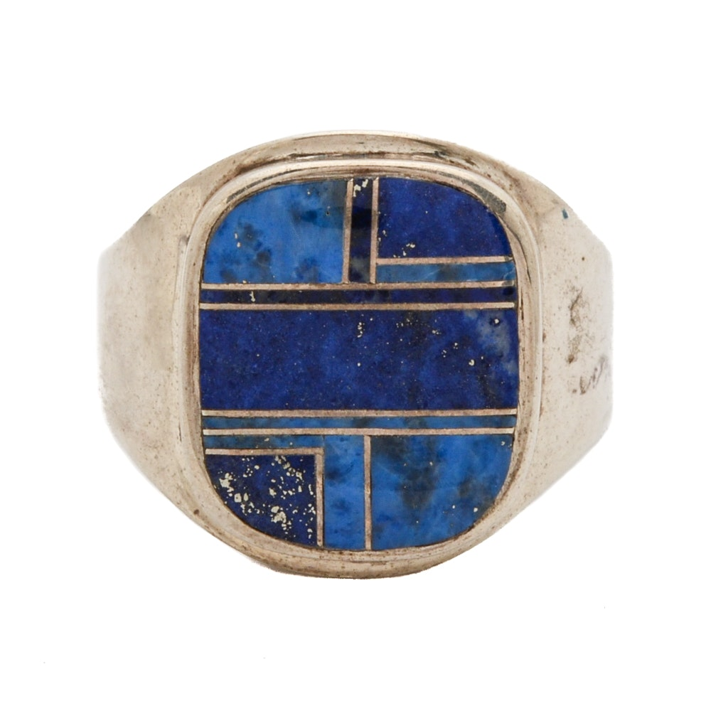 Sterling Silver RIng Inlaid with Lapis Lazuli