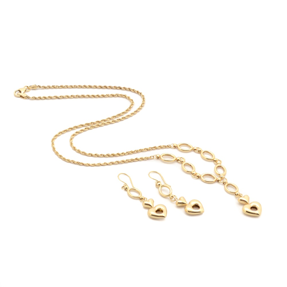 14K Yellow Gold Aurafin Necklace and Matching Earrings