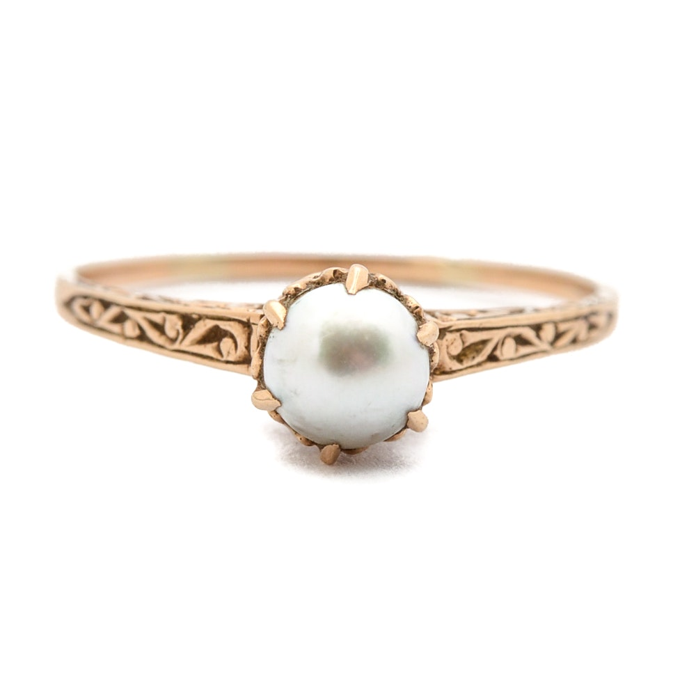 Victorian 10K Yellow Gold Pearl Ring