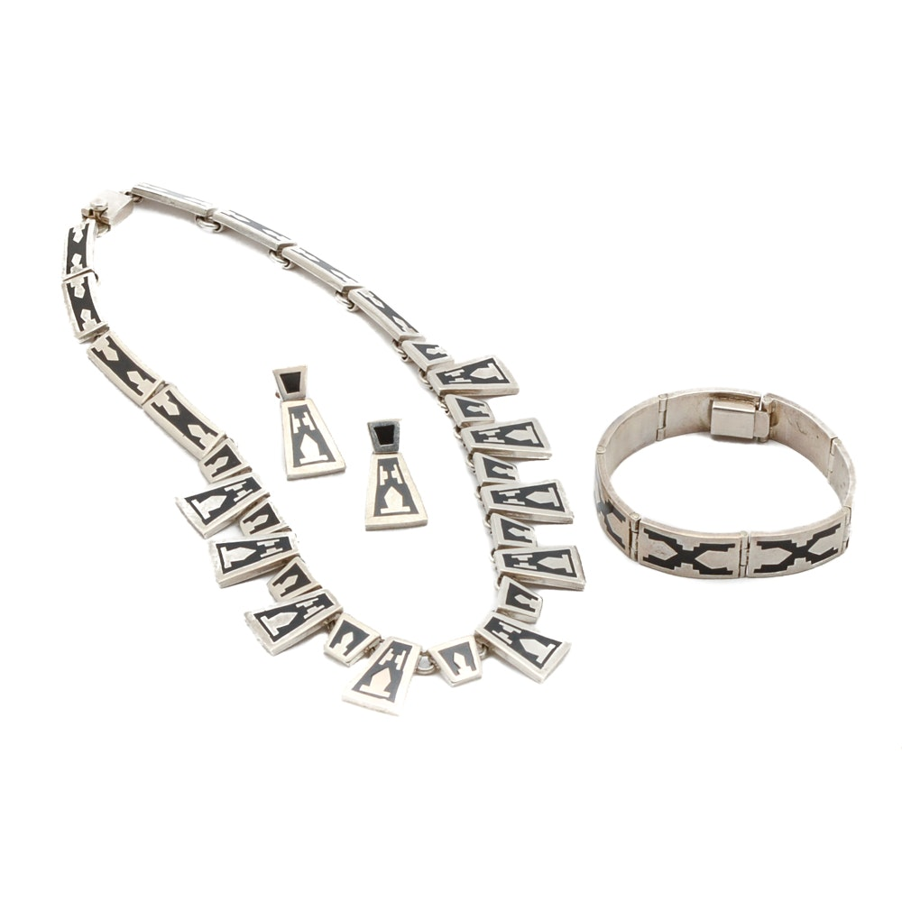 Modernist Sterling Silver Taxco Mexico Jewelry Set