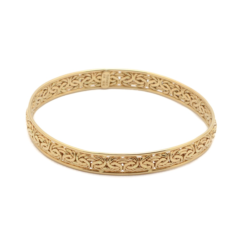 18K Yellow Gold Bangle Bracelet From Turkey