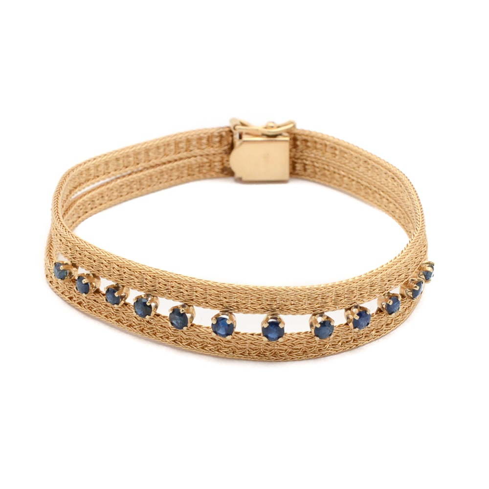 14K Yellow Gold Mesh Bracelet with Sapphires