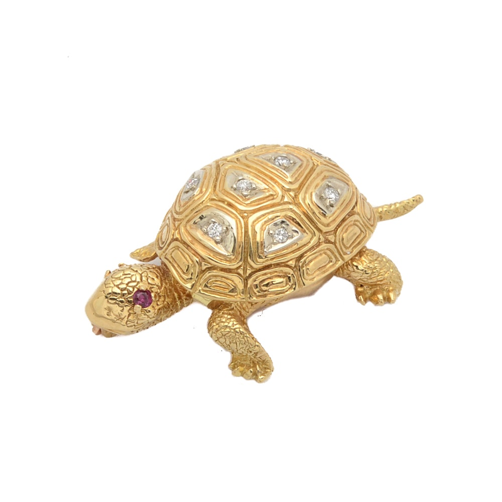 18K Yellow Gold Turtle Brooch with Diamonds and Rubies