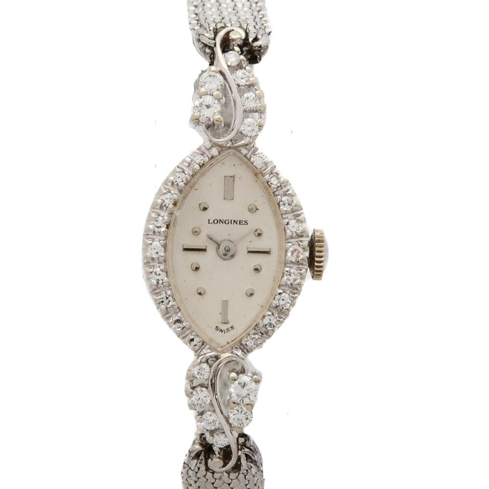 14K White Gold and Diamond Longines Dress Watch