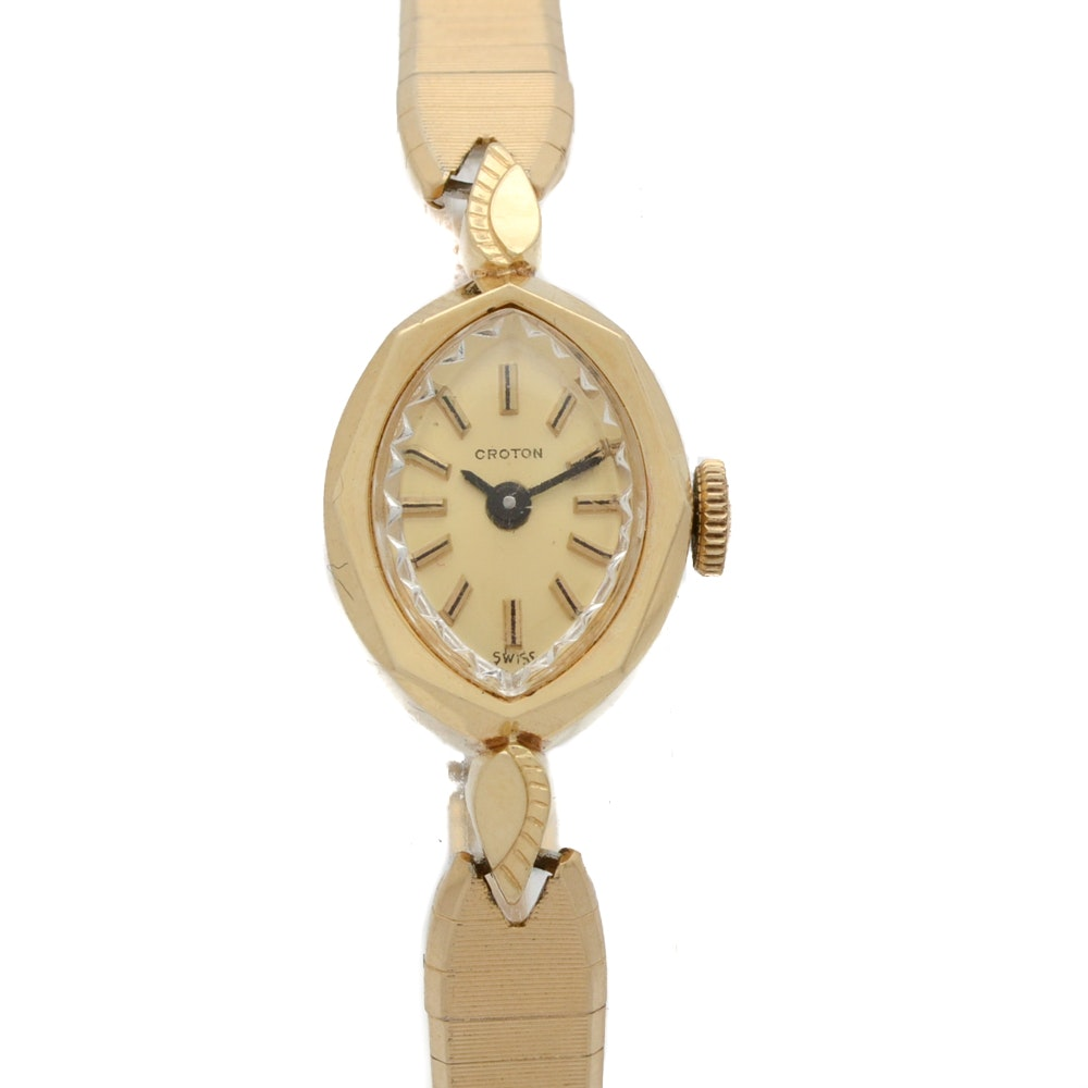 14K Yellow Gold Croton Dress Watch