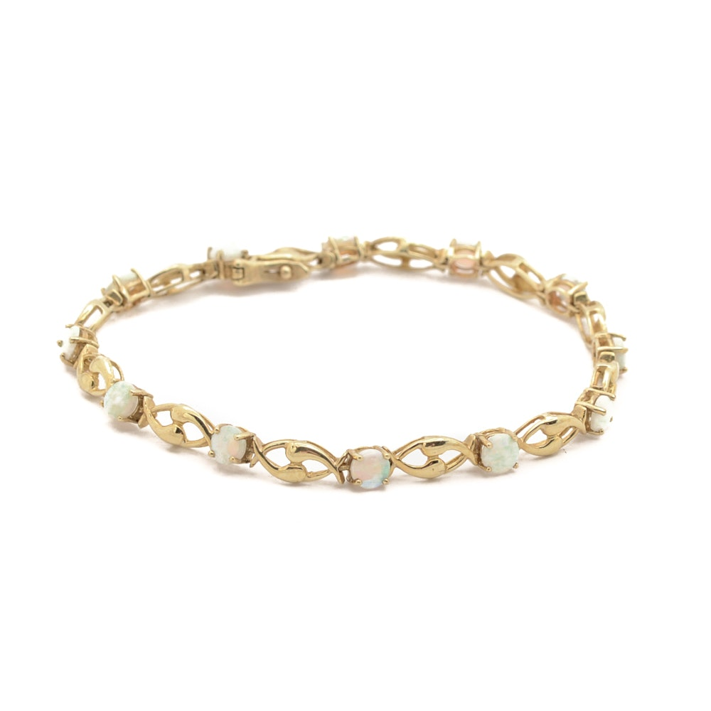 10K Yellow Gold Opal Bracelet