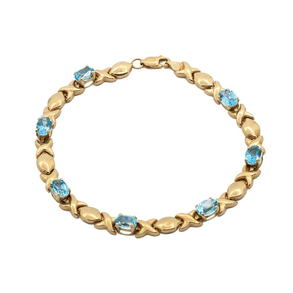 14K Gold Town & Country Topaz Bracelet