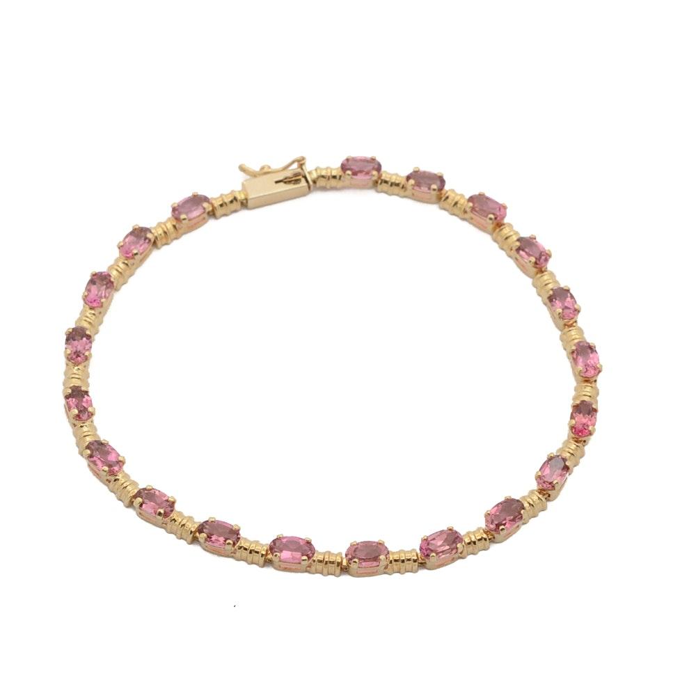 14K Gold Pink Tourmaline Bracelet