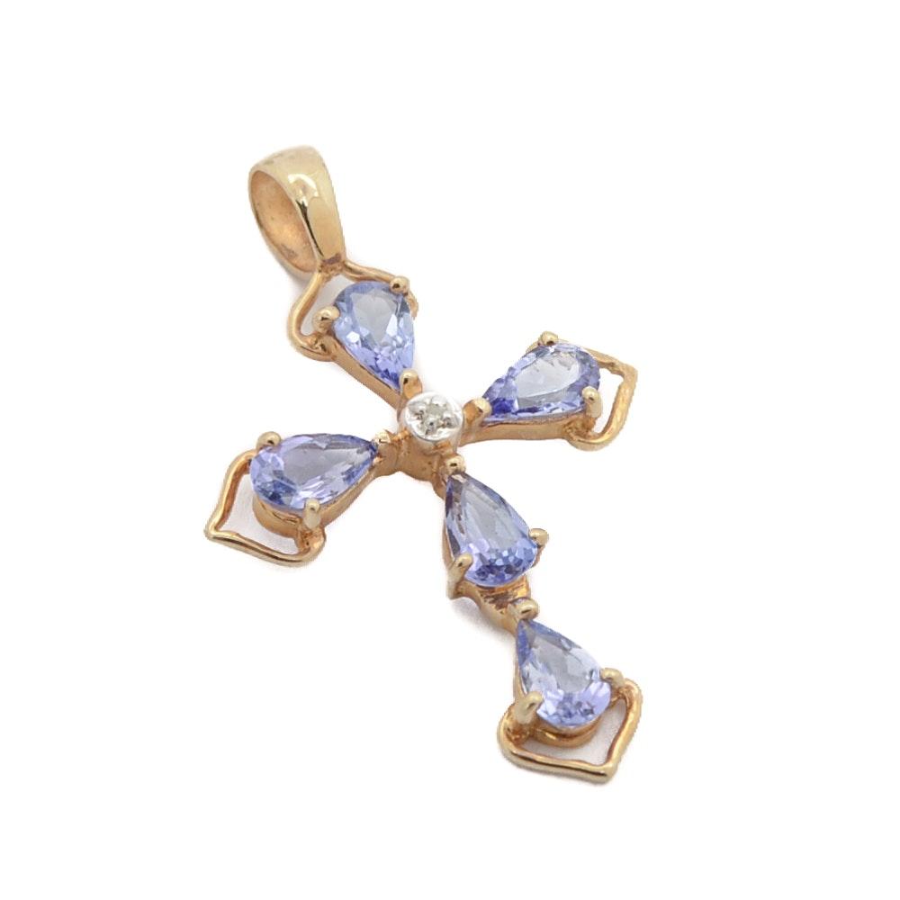 14K Gold Tanzanite Cross Pendant with Diamond Accent
