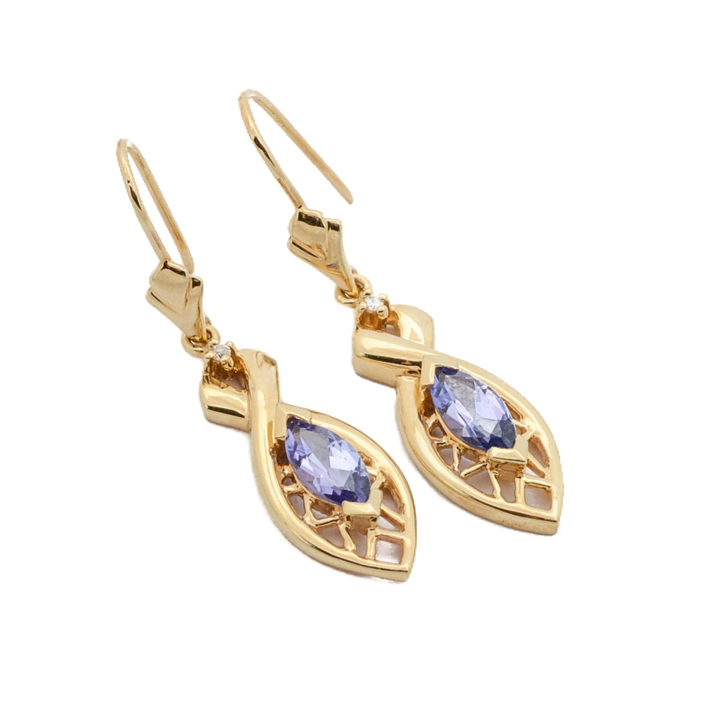 14K Yellow Gold Tanzanite Earrings with Diamond Accents