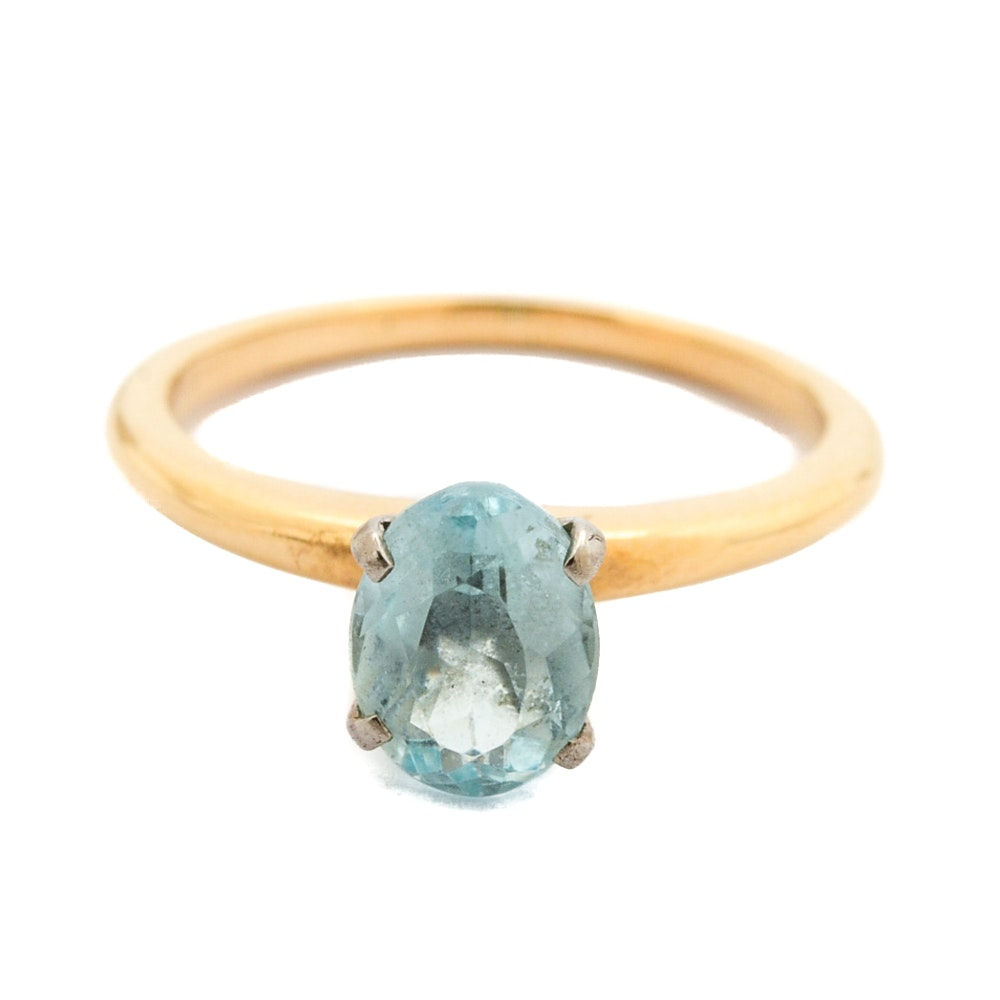 Jabel Jewelry 18K Yellow Gold Aquamarine Ring