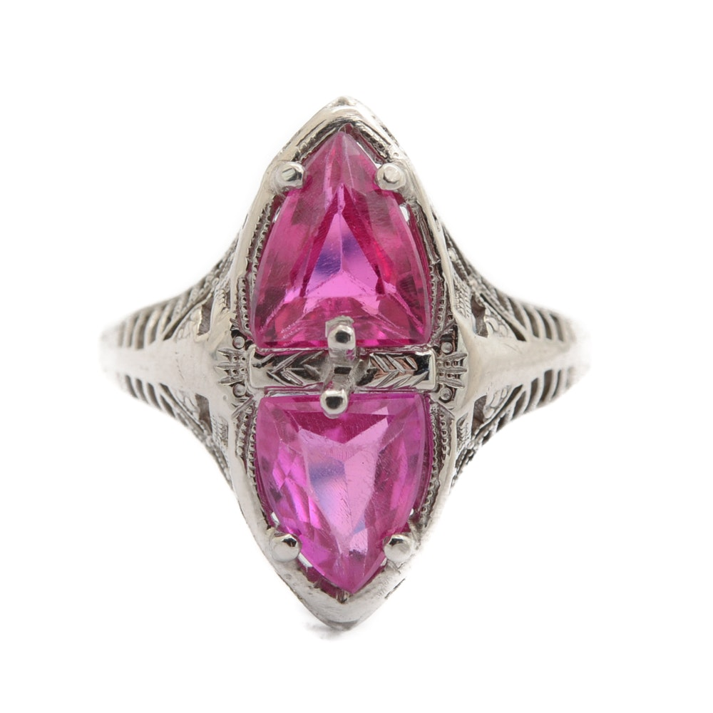 Vintage 18K White Gold Ruby Ring