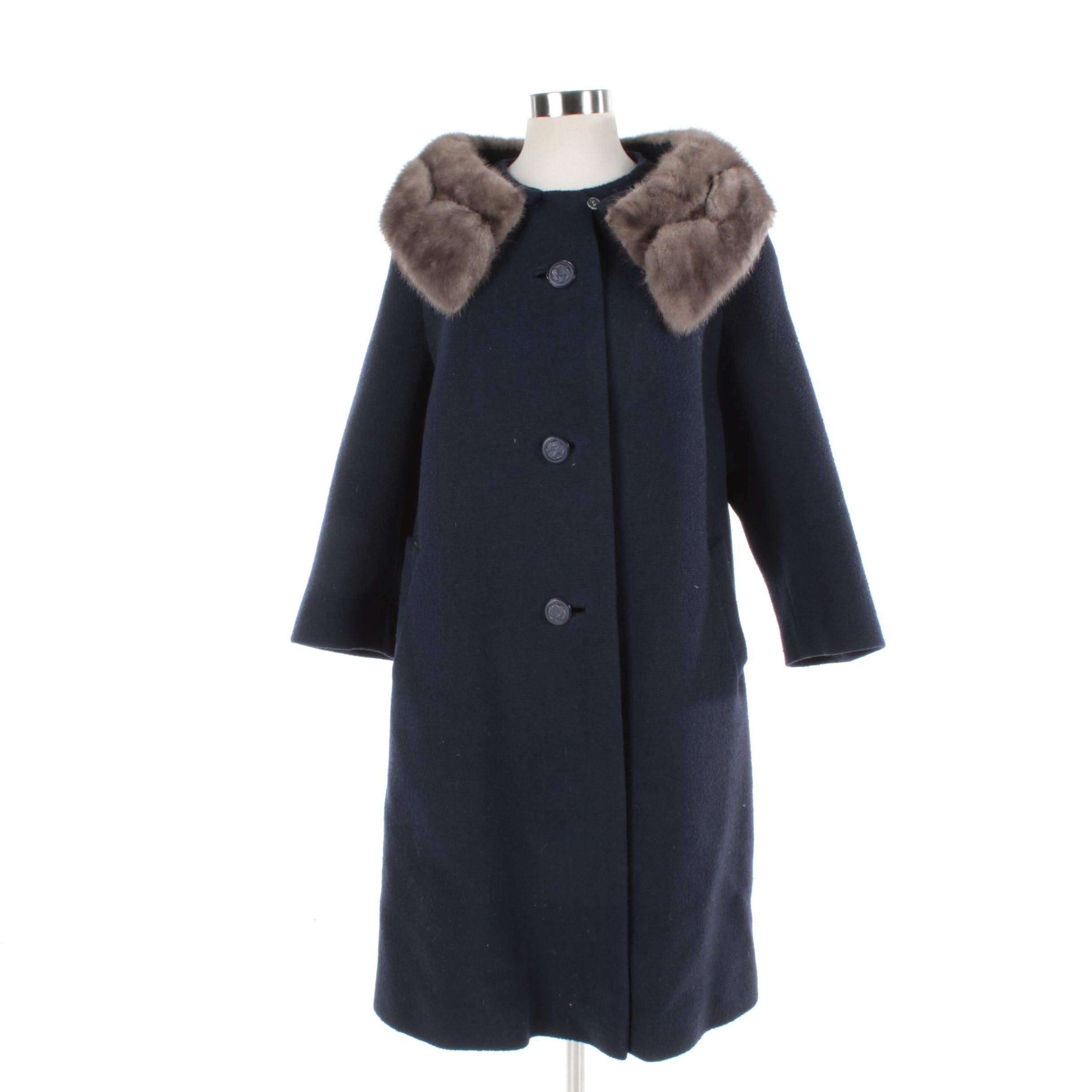 Women's Navy Blue Wool Coat with Gray Mink Fur Collar