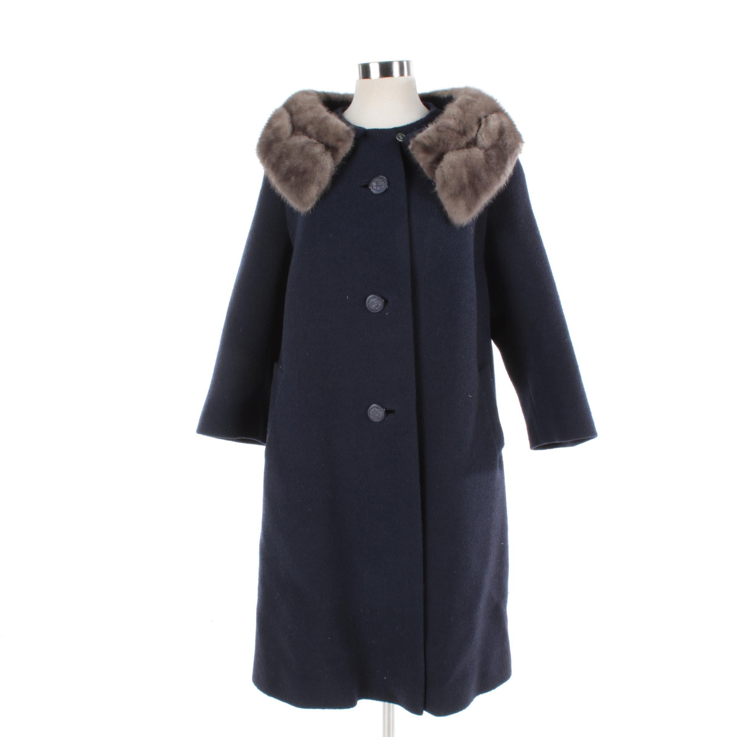 Women's Navy Blue Wool Coat with Gray Mink Fur Collar