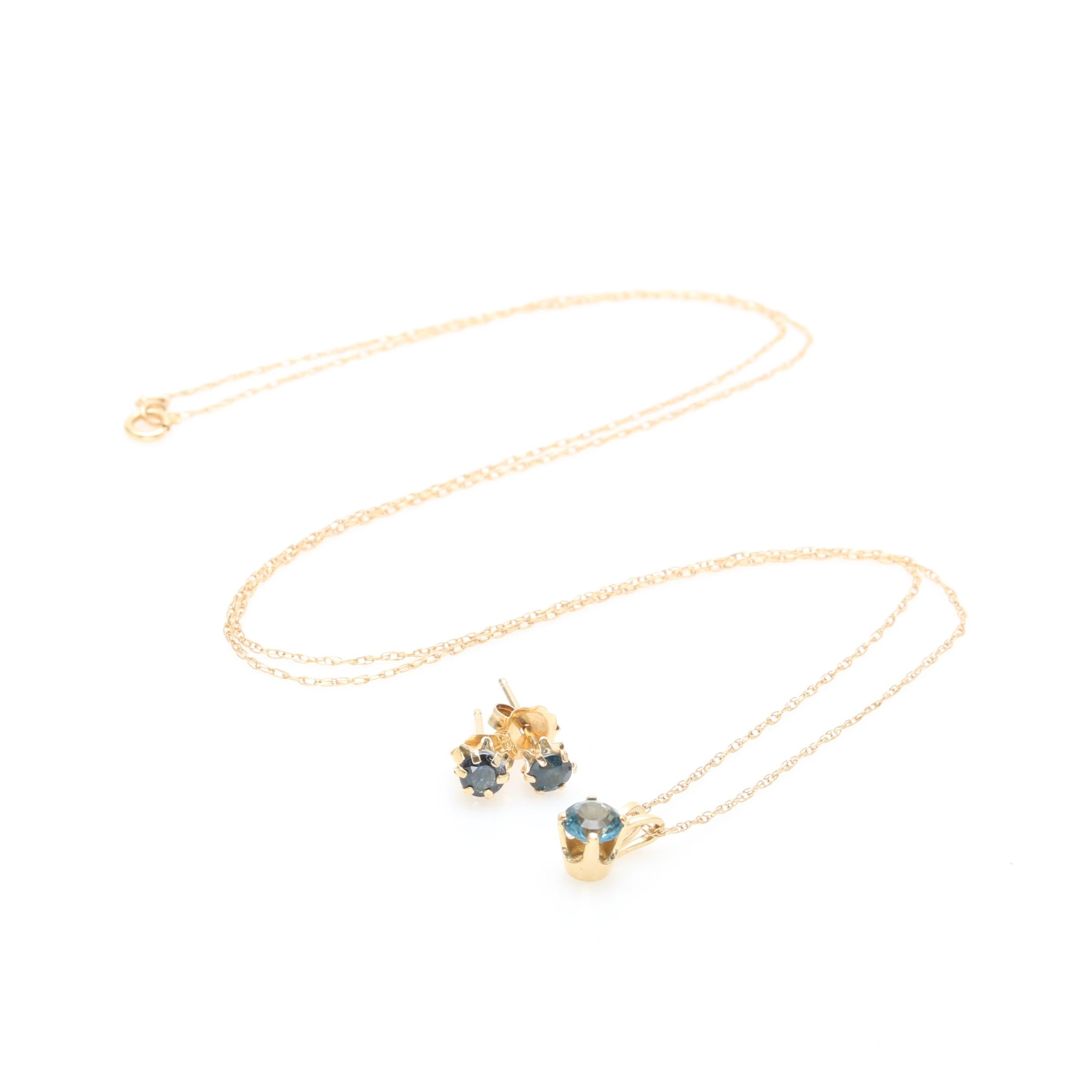 14K Yellow Gold Sapphire and Spinel Necklace and Earrings
