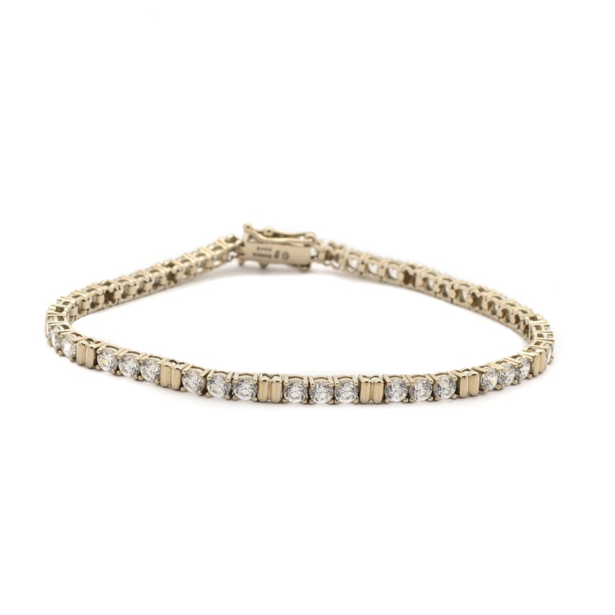14k Yellow Gold Diamonique Cubic Zirconia Tennis Bracelet