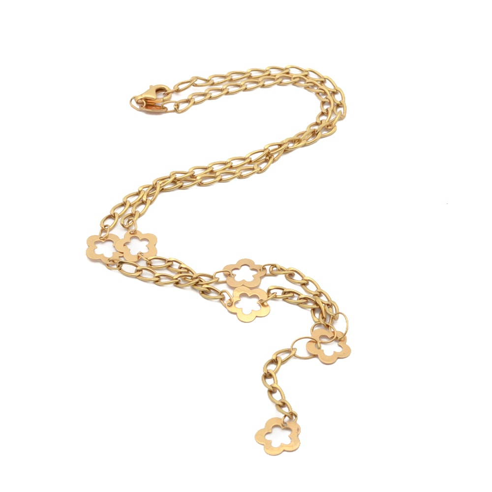 18K Yellow Gold Italian Chain Link Necklace