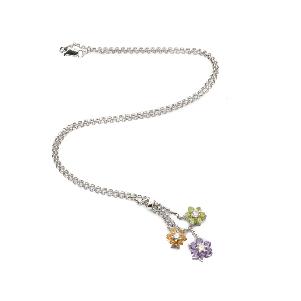 18K White Gold Gemstone Pendant Necklace