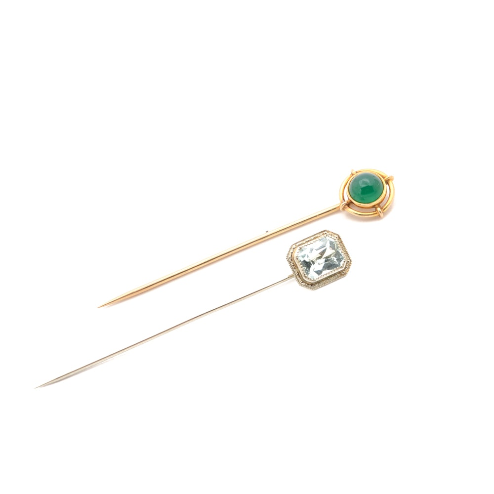 10K White Gold and 14K Yellow Gold Stick Pins