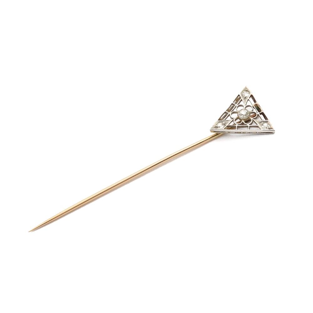 14K Yellow Gold and Platinum Diamond Stick Pin
