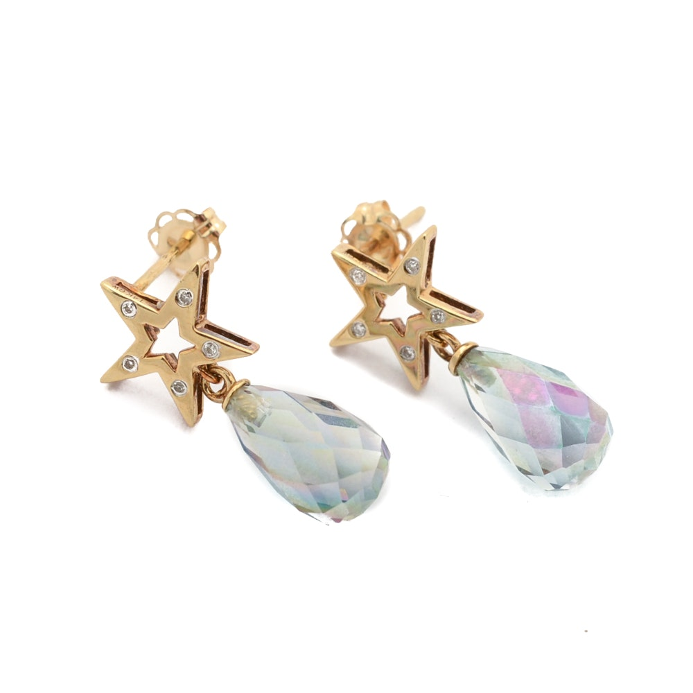 14K Yellow Gold Faceted Quartz Earrings with Diamond Accents
