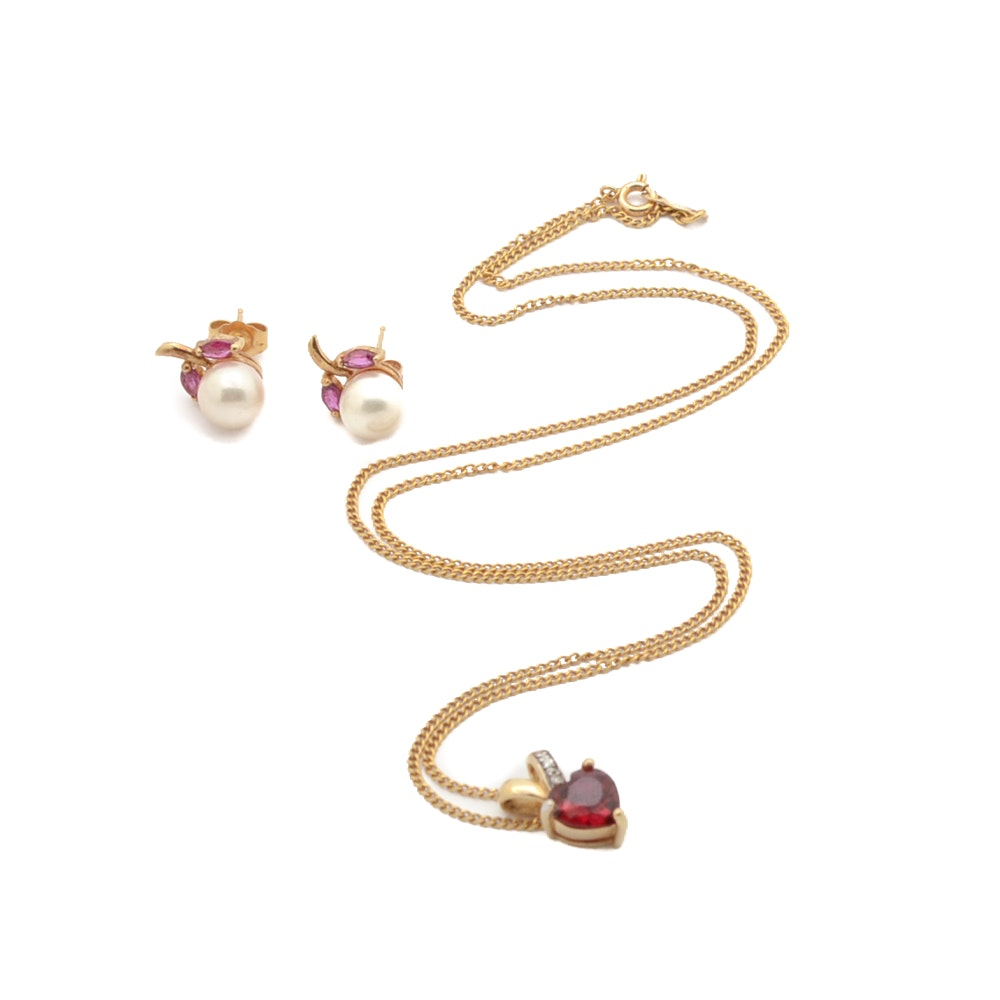 14K Gold Ruby Necklace and Pearl and Ruby Earrings in 14K Gold