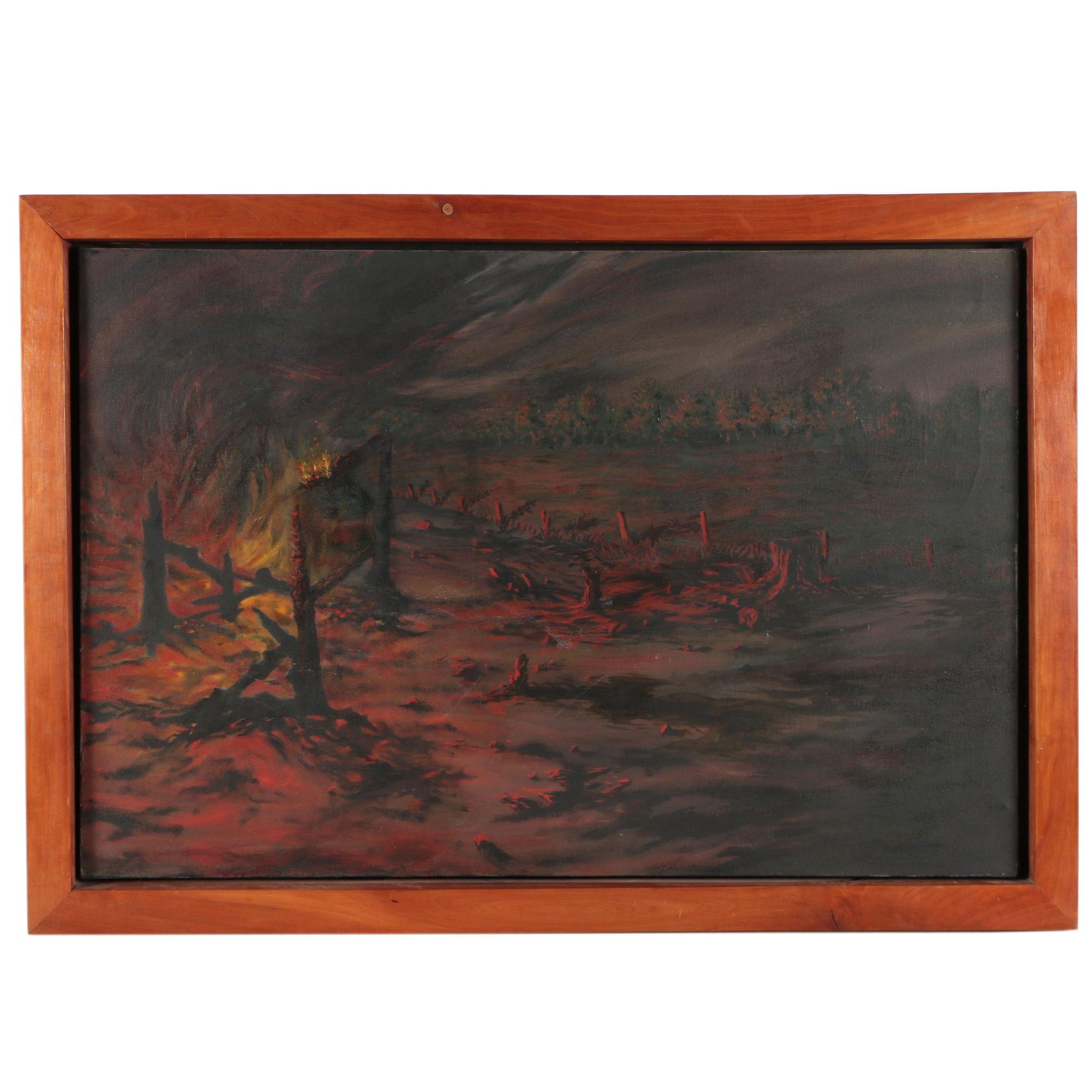 Acrylic Painting of a Burning Landscape