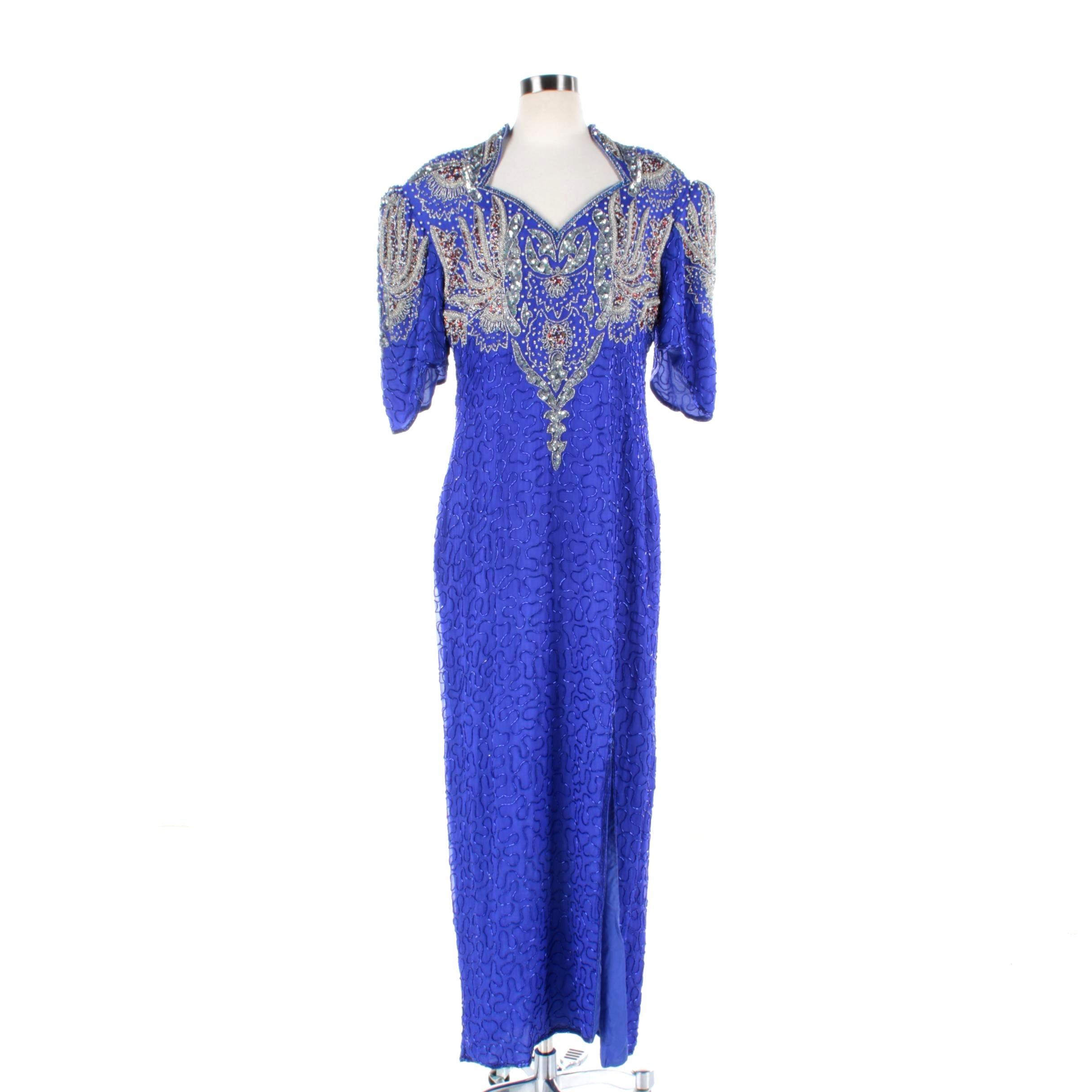 Vintage Beaded and Sequined Blue Silk Evening Dress